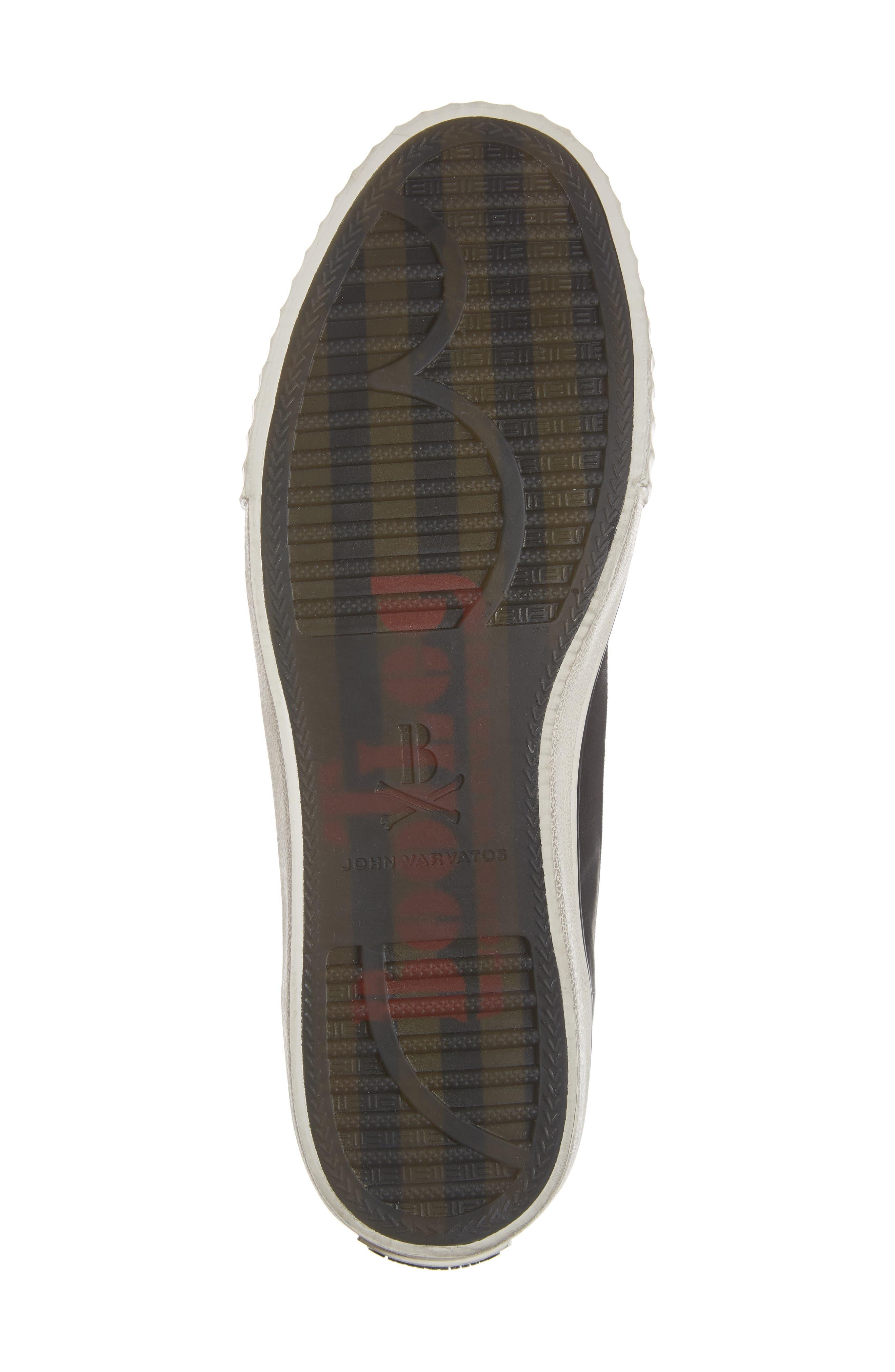 Bootleg Linen Laceless Sneaker,                             Alternate thumbnail 6, color,                             BLACK COATED LINEN