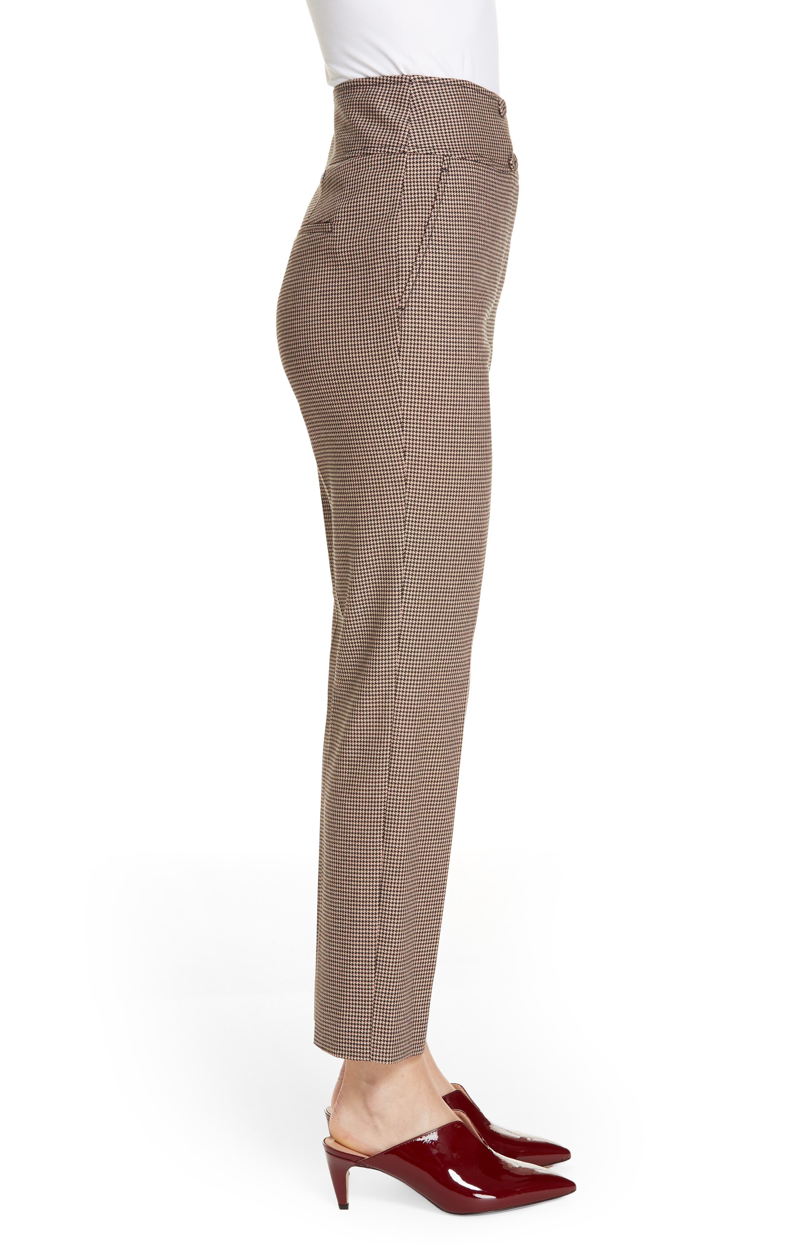 Houndstooth Check Stretch Cotton Blend Pants,                             Alternate thumbnail 3, color,                             CAMEL/ BLACK