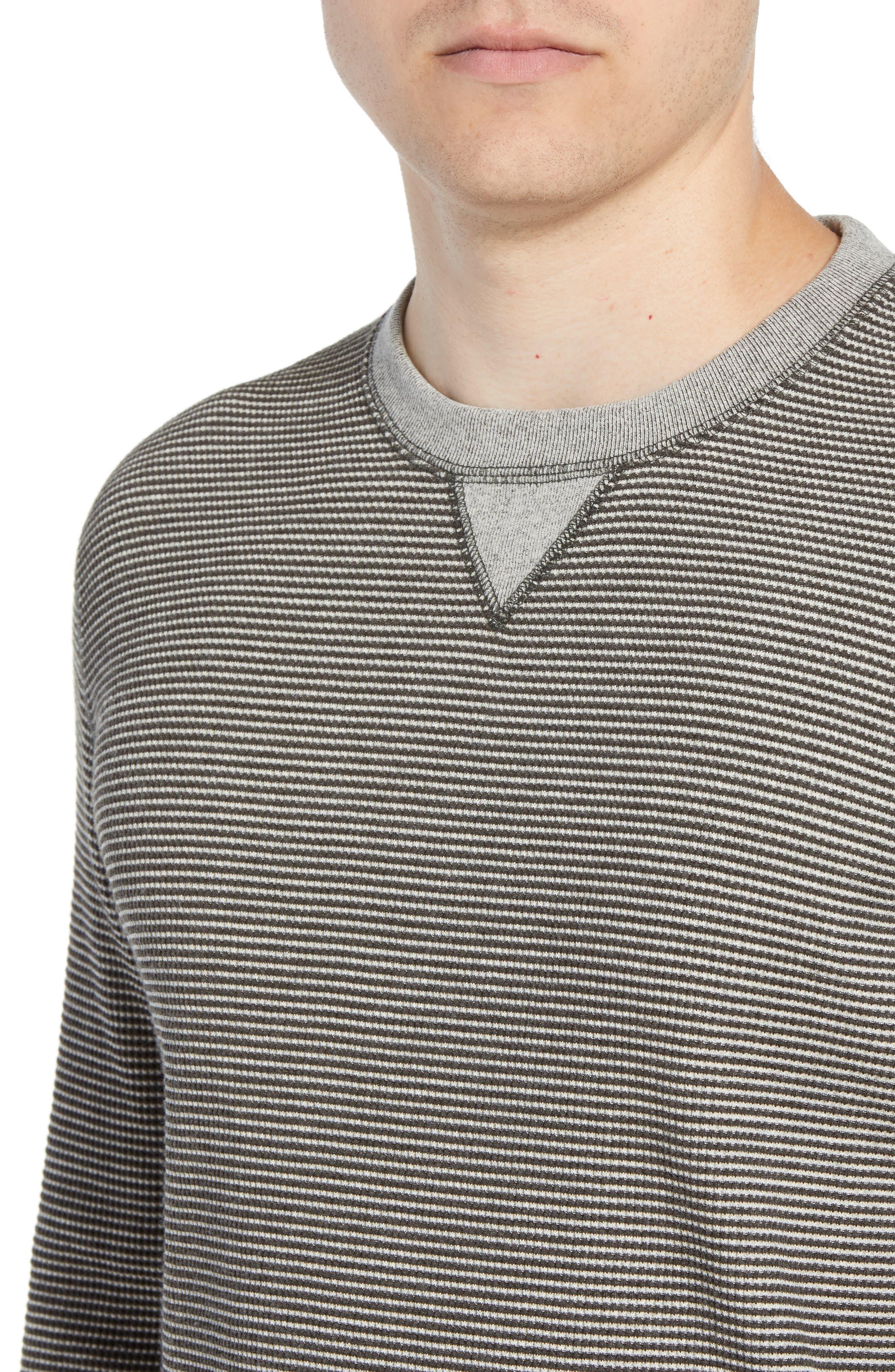 Regular Fit Waffle Crewneck Sweatshirt,                             Alternate thumbnail 4, color,                             CHARCOAL