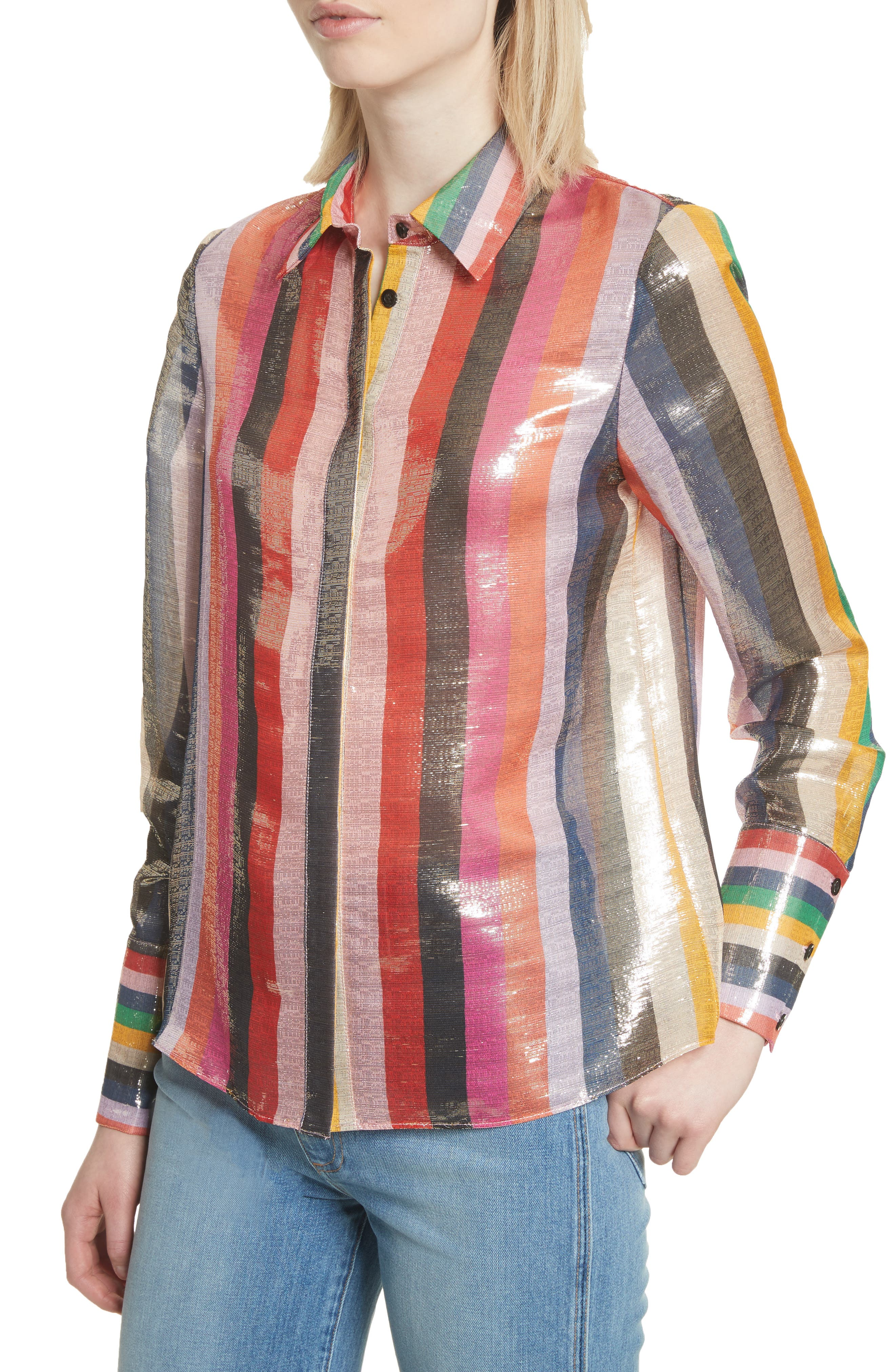Metallic Stripe Shirt,                             Alternate thumbnail 4, color,