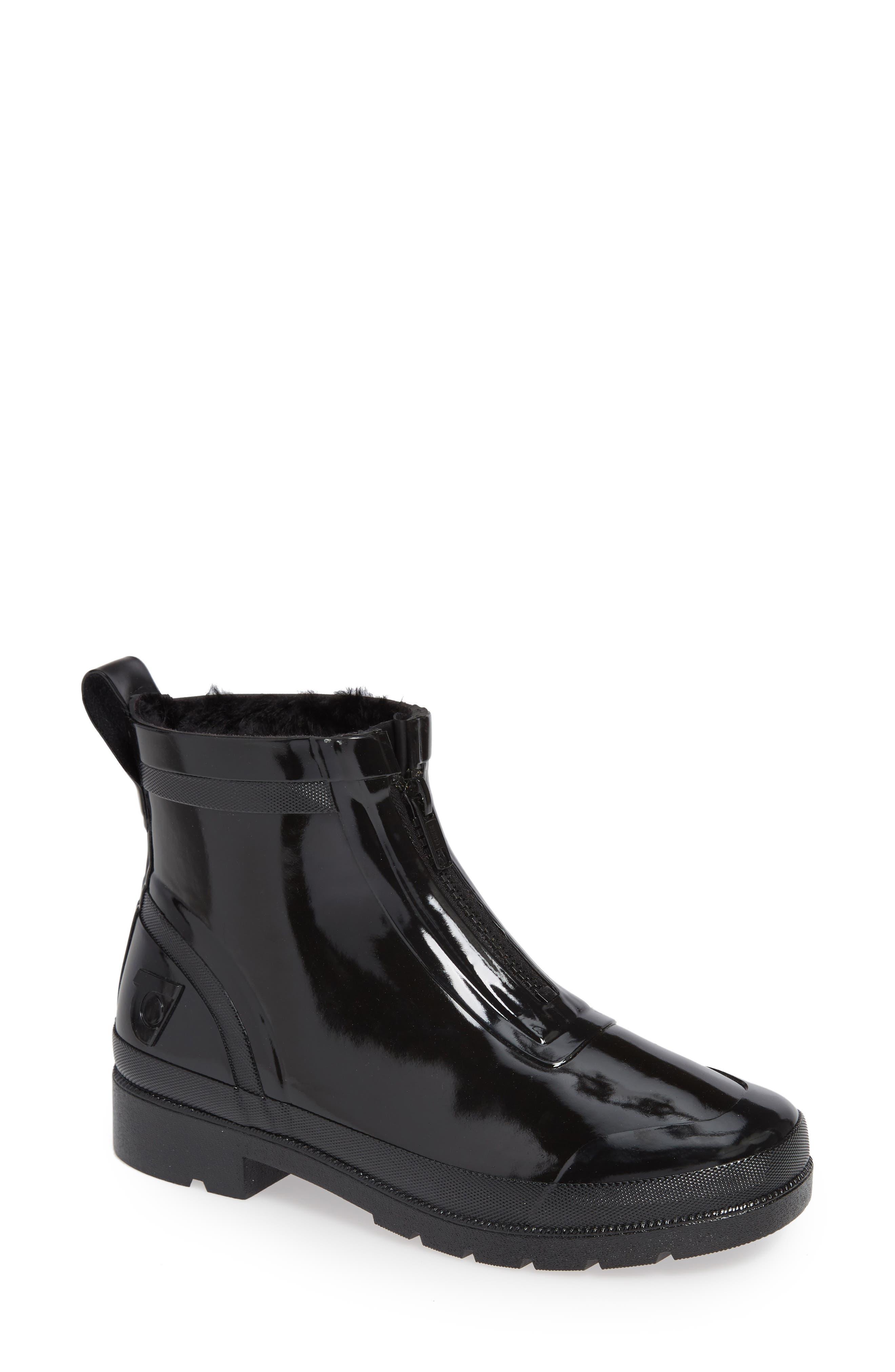 TRETORN Lina Zip Short Shiny Rubber Rain Boots in Black