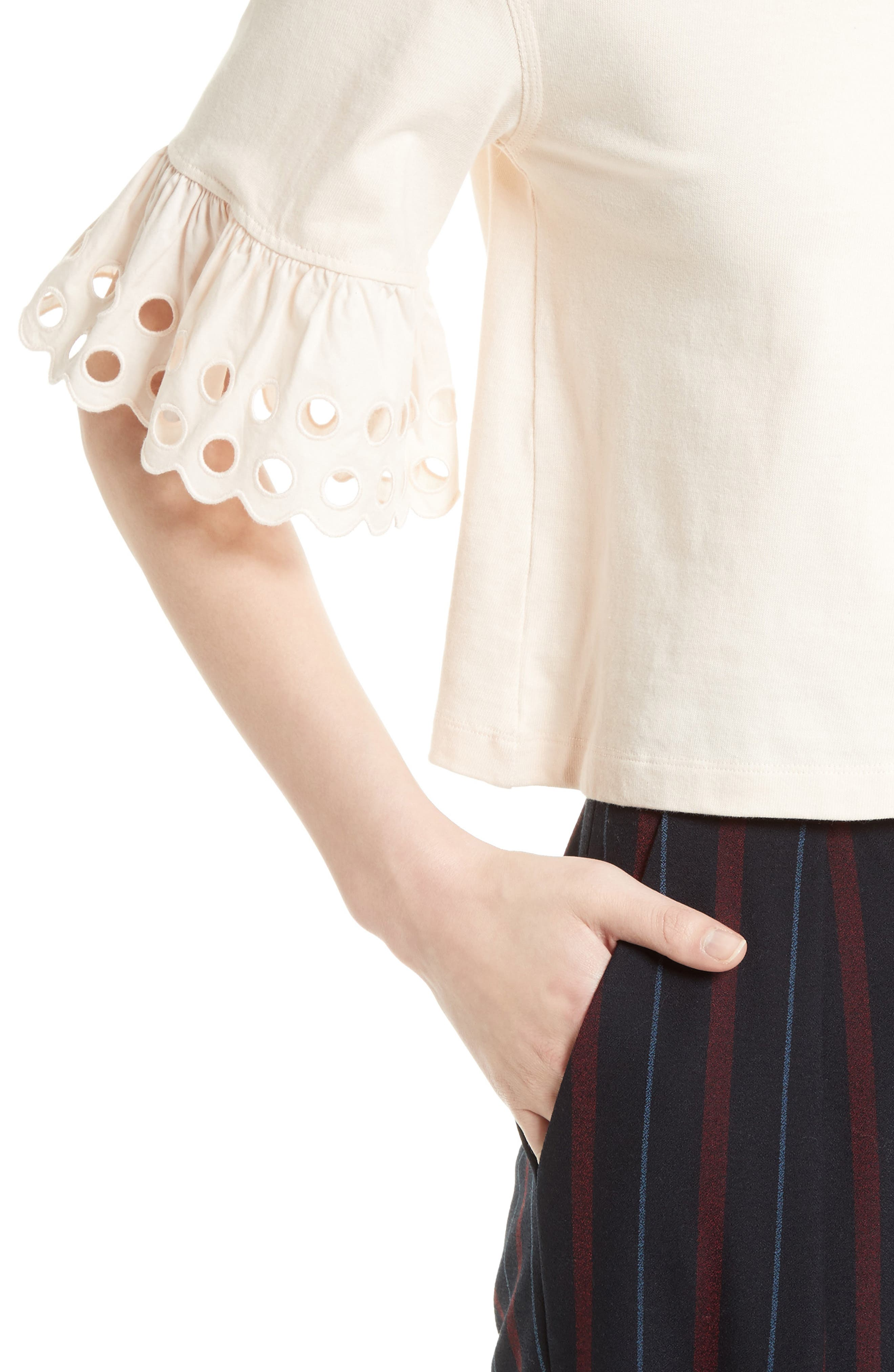 Ruffle Sleeve Boxy Tee,                             Alternate thumbnail 4, color,                             650