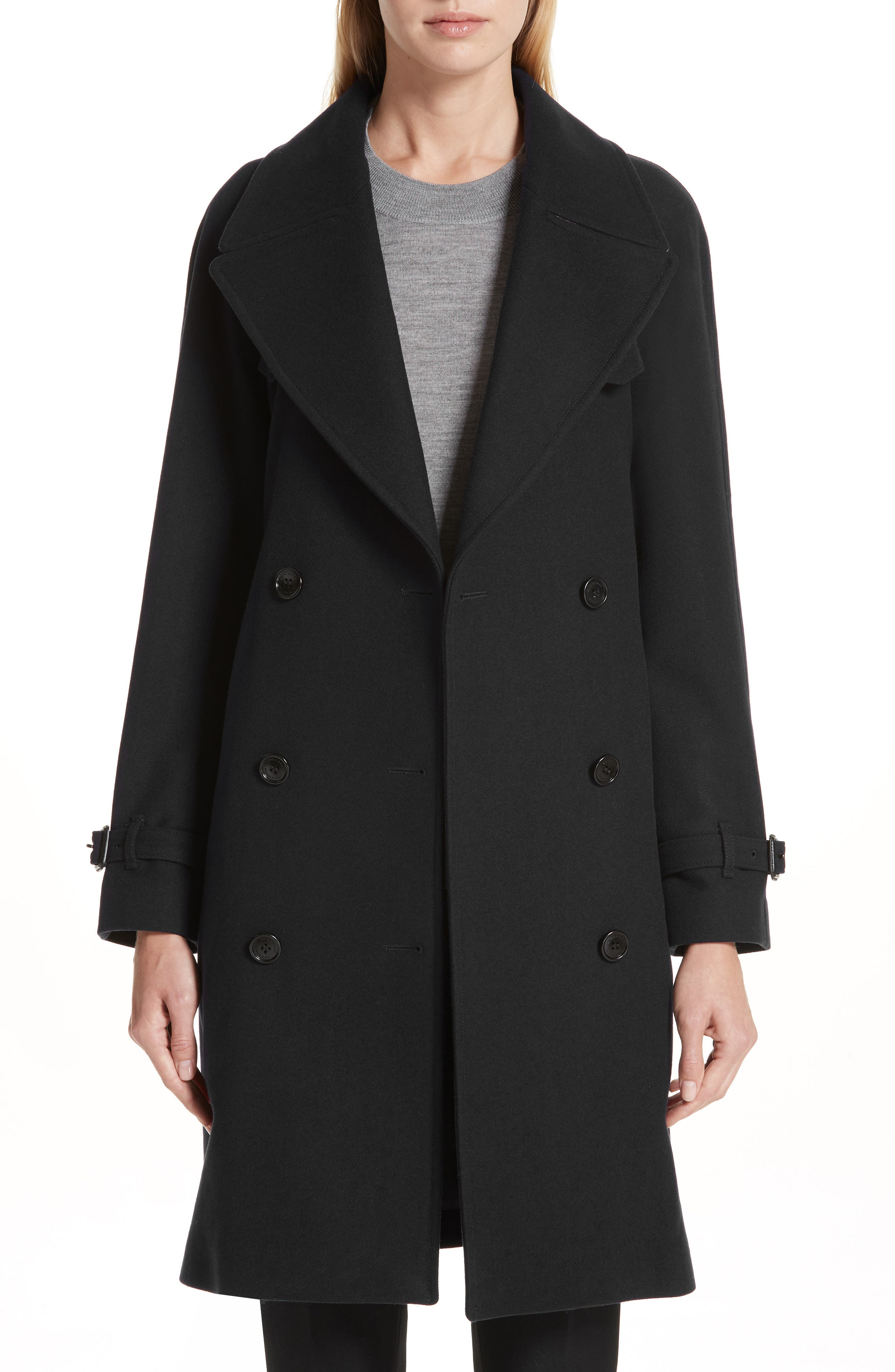 Cranston Wool Blend Trench Coat,                         Main,                         color, BLACK