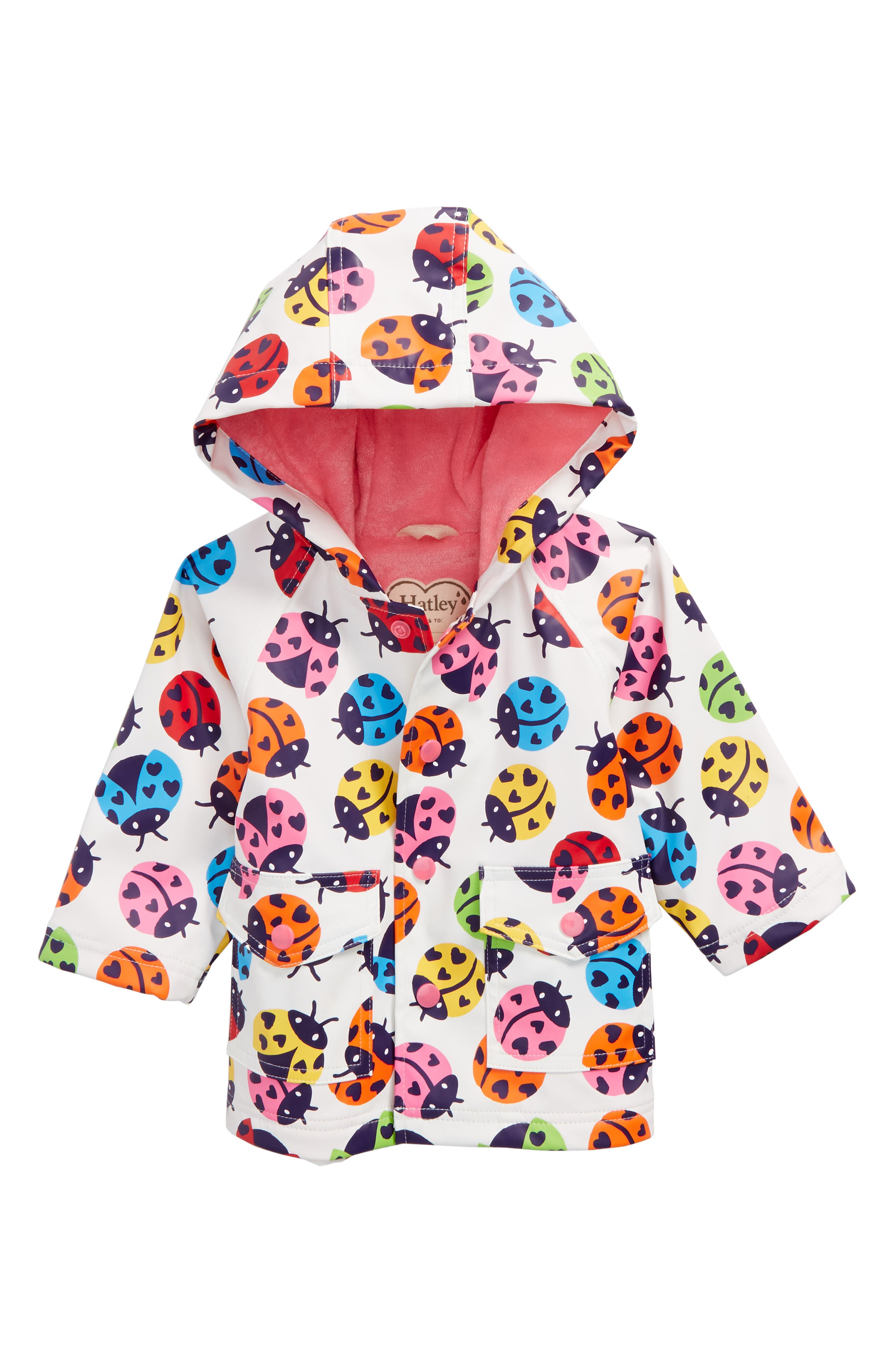Rainbow Ladybugs Hooded Raincoat,                             Main thumbnail 1, color,                             100