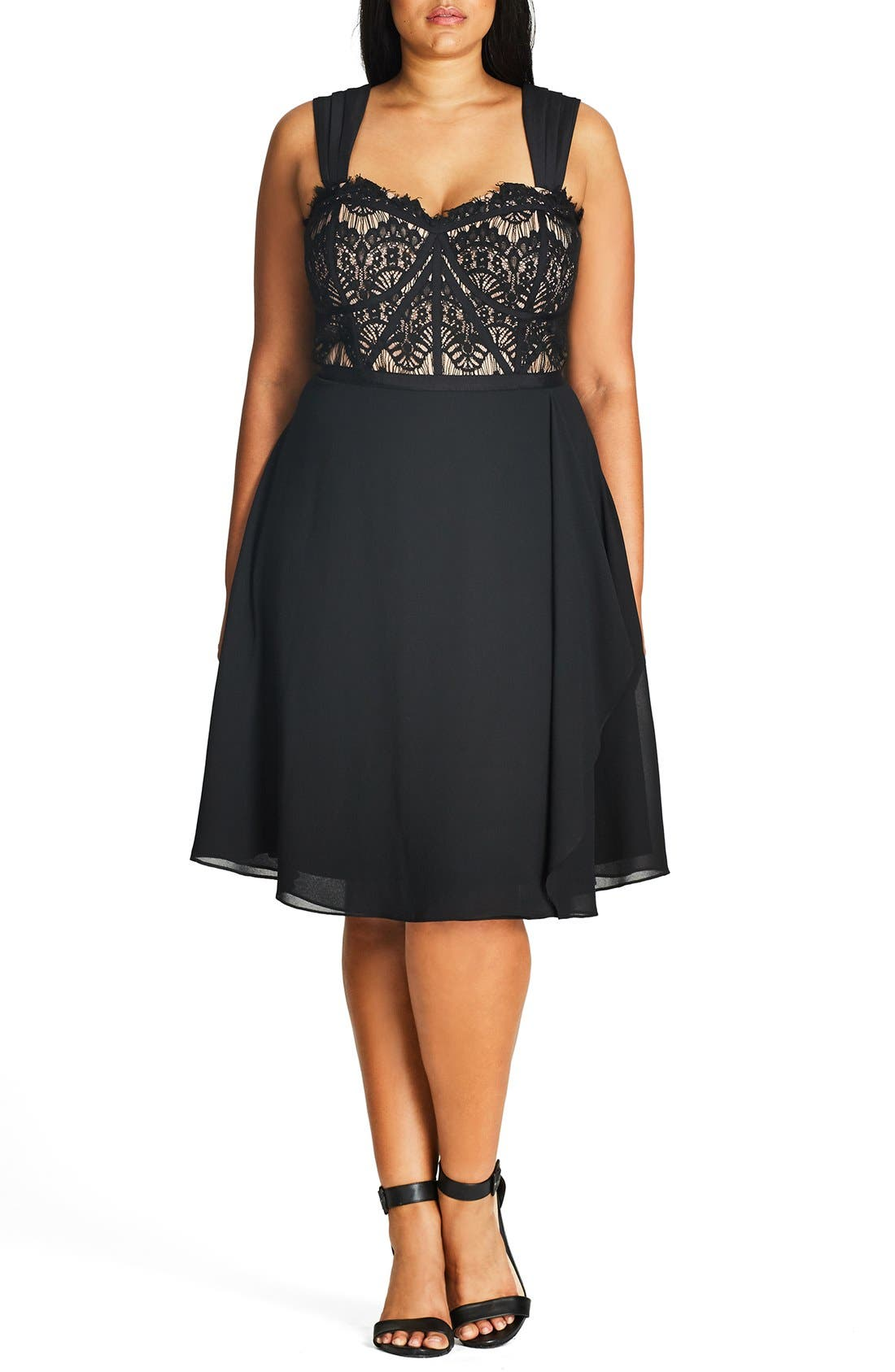 'Eyelash Evie' Lace & Chiffon Cocktail Dress,                             Main thumbnail 1, color,                             BLACK