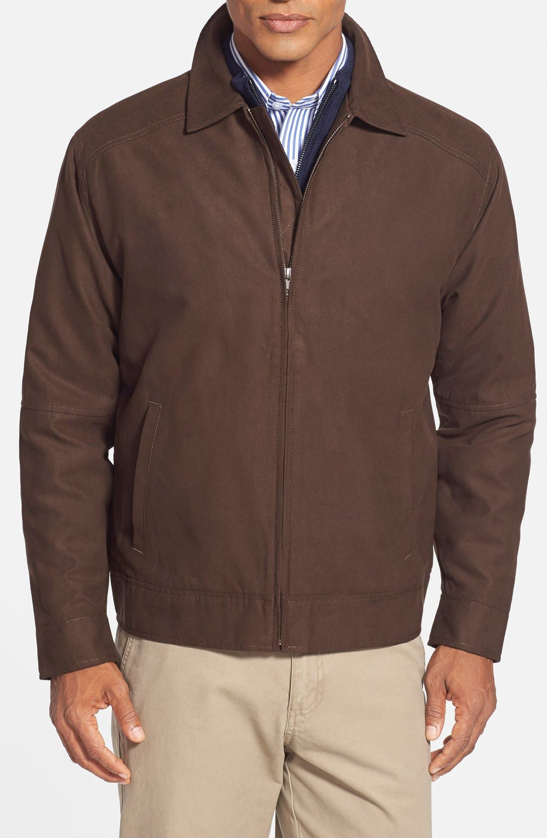'Roosevelt' Classic Fit Water Resistant Full Zip Jacket,                         Main,                         color, BITTERSWEET BROWN