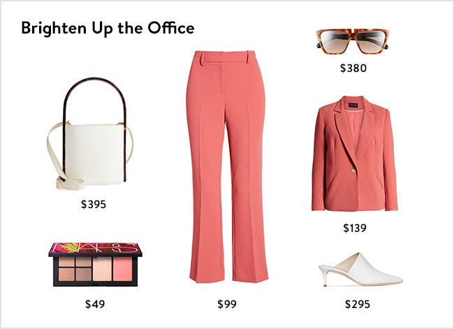 Brighten up the office: colorful women's work clothing, accessories, shoes and more.