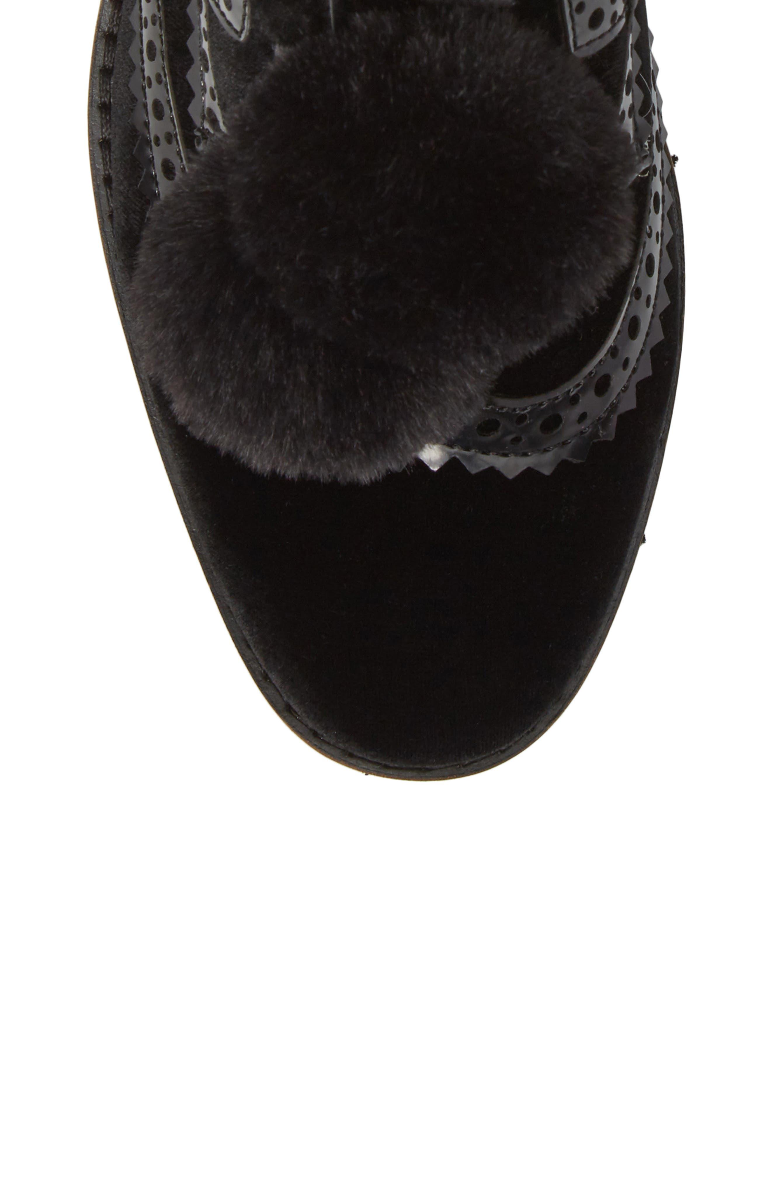 Dahl Oxford with Faux Fur Pompom,                             Alternate thumbnail 5, color,                             001