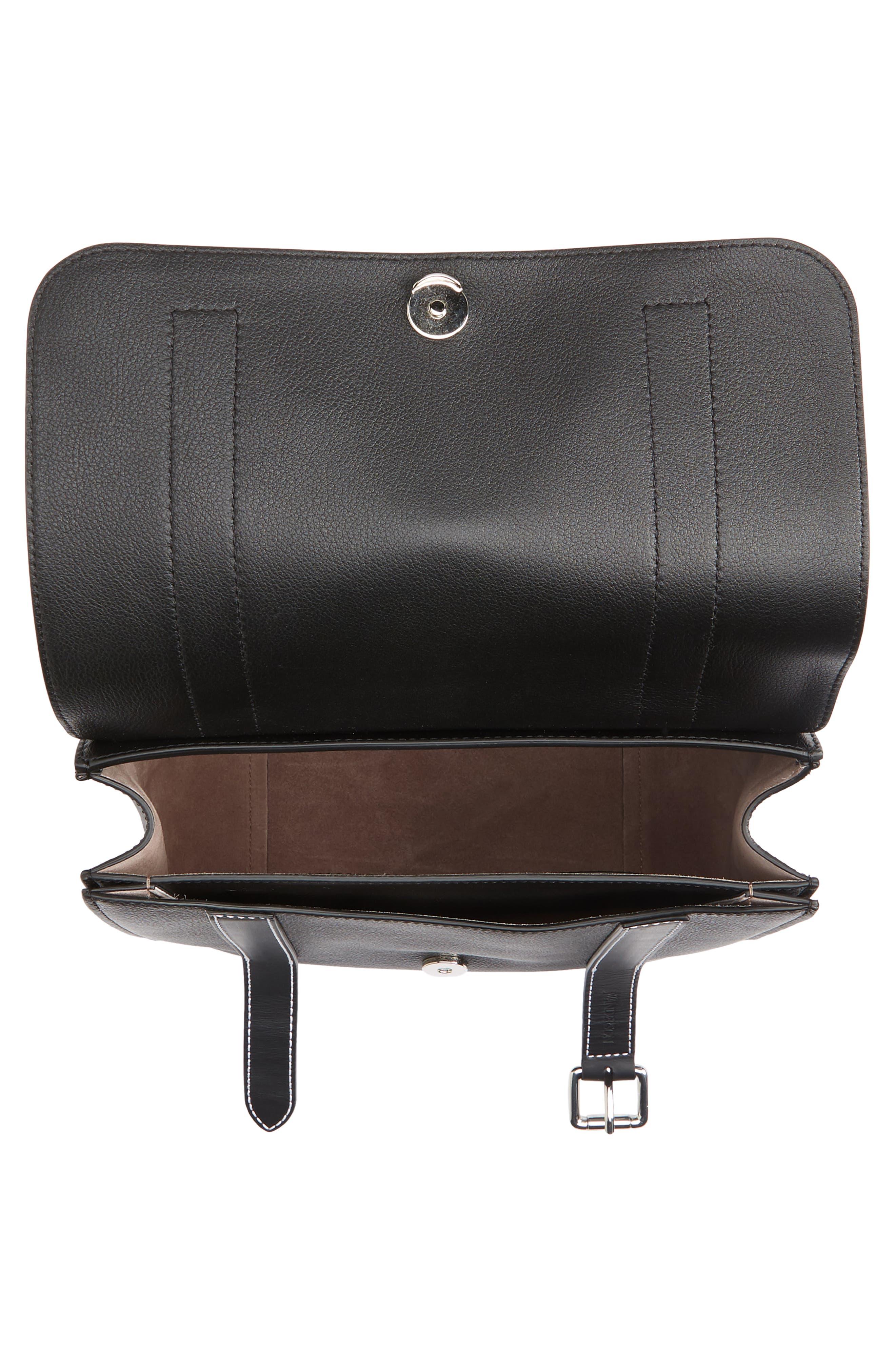 JW ANDERSON,                             Disc Leather Top Handle Satchel,                             Alternate thumbnail 4, color,                             BLACK