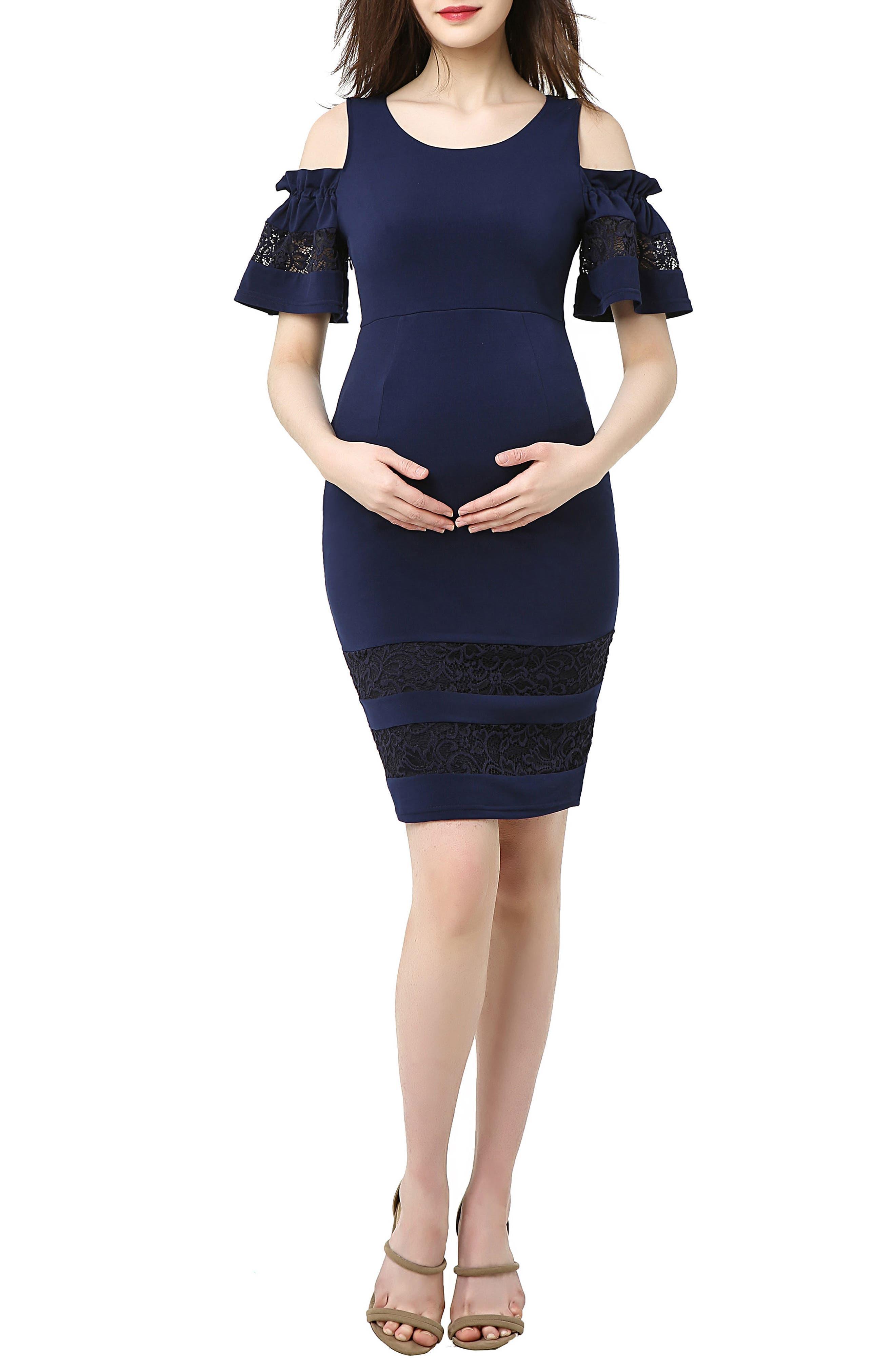 Marissa Cold Shoulder Maternity Sheath Dress,                             Main thumbnail 1, color,                             NAVY
