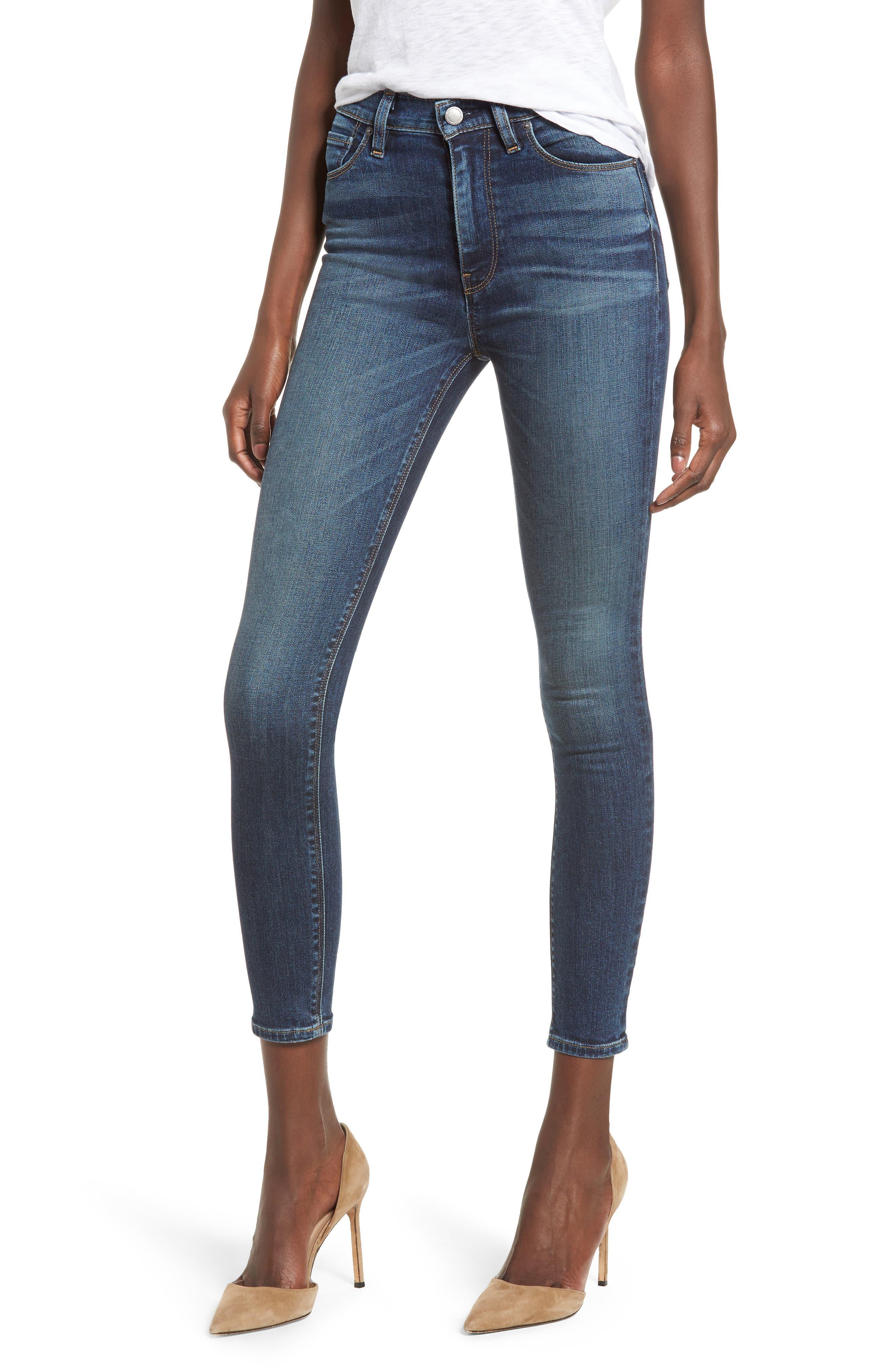Barbara High Waist Ankle Skinny Jeans,                             Main thumbnail 1, color,                             CLEAN SIDE BAR