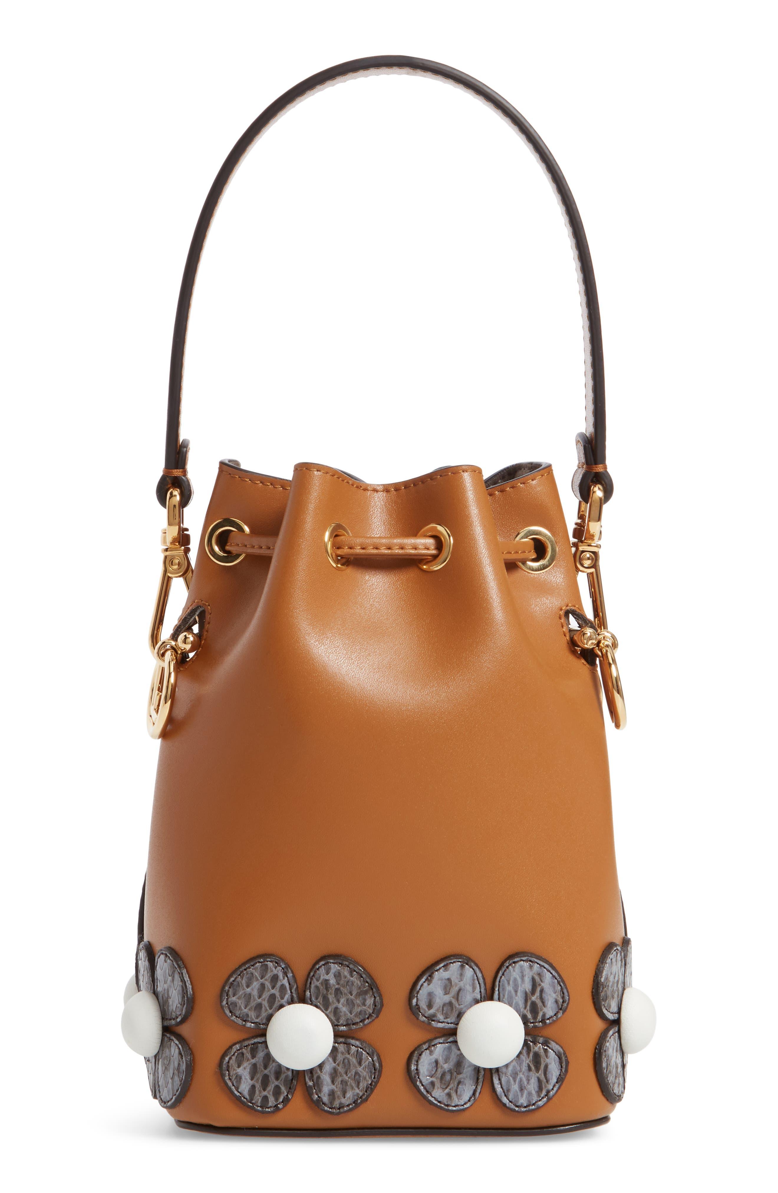 Mon Tresor Embellished Leather Bucket Bag,                             Alternate thumbnail 4, color,                             CARAMEL