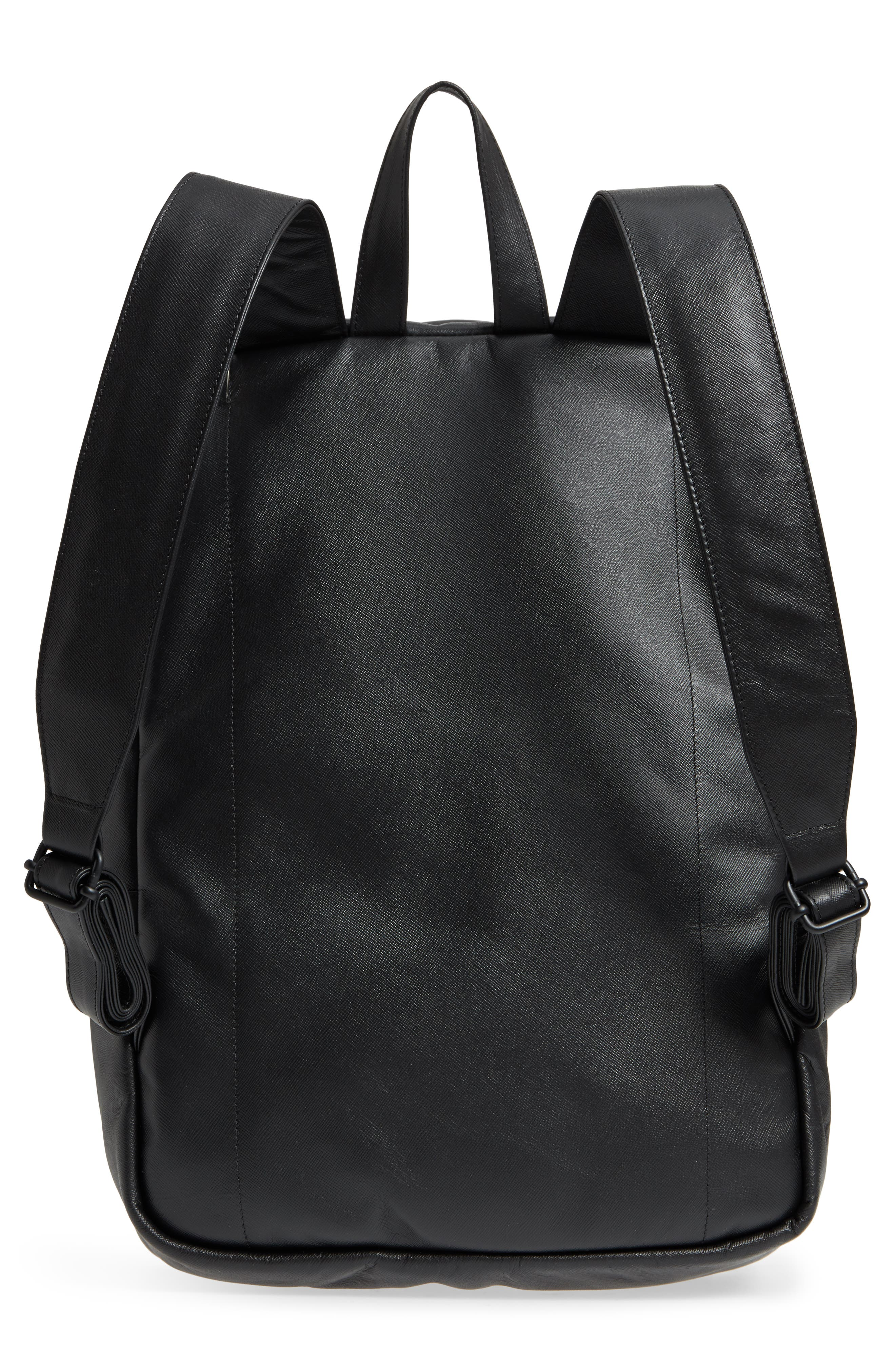 Saffiano Leather Backpack,                             Alternate thumbnail 3, color,                             001