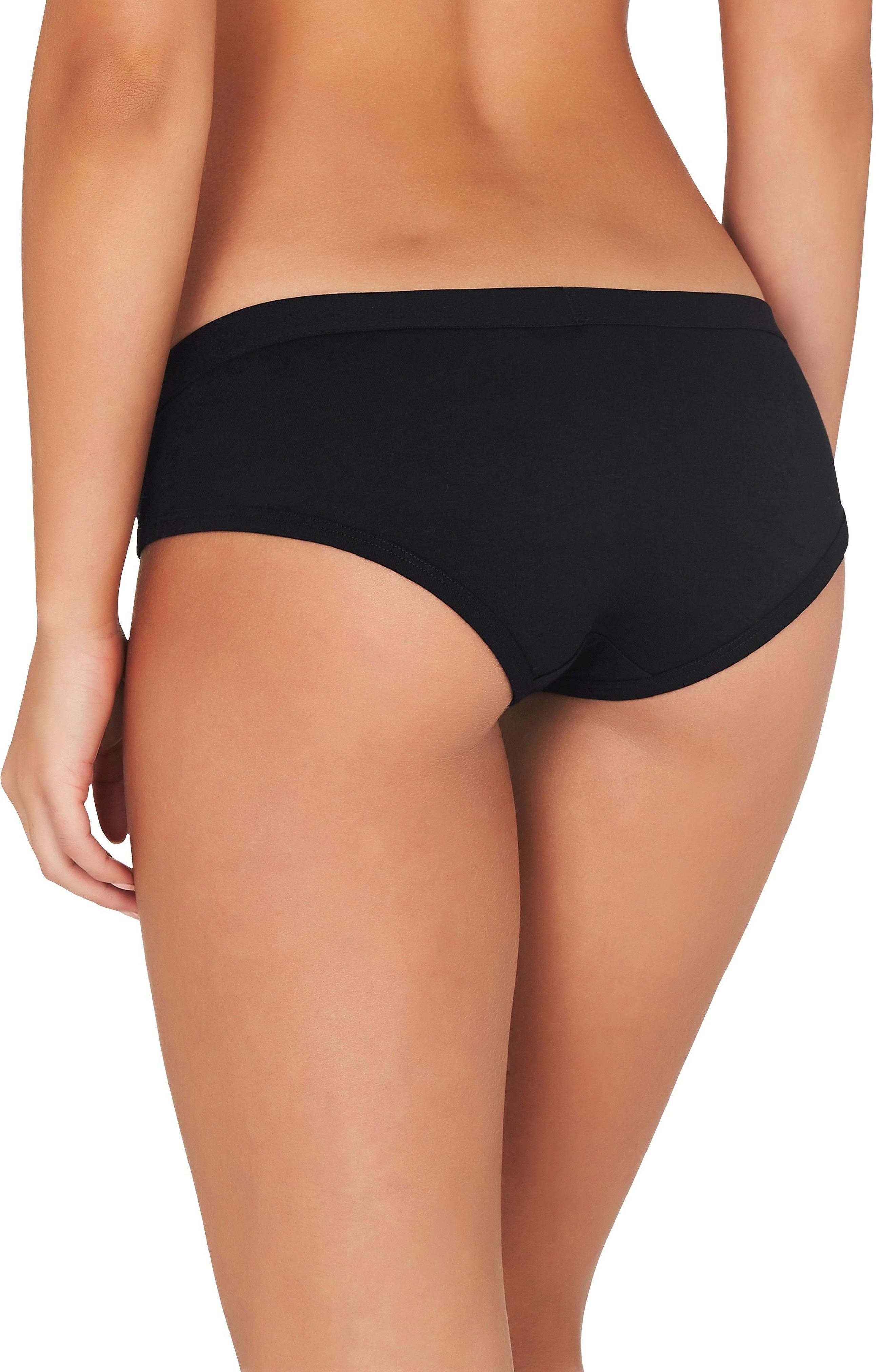 2-Pack Stretch Organic Cotton Hipster Girlfriend Panties,                             Alternate thumbnail 3, color,                             BLACK