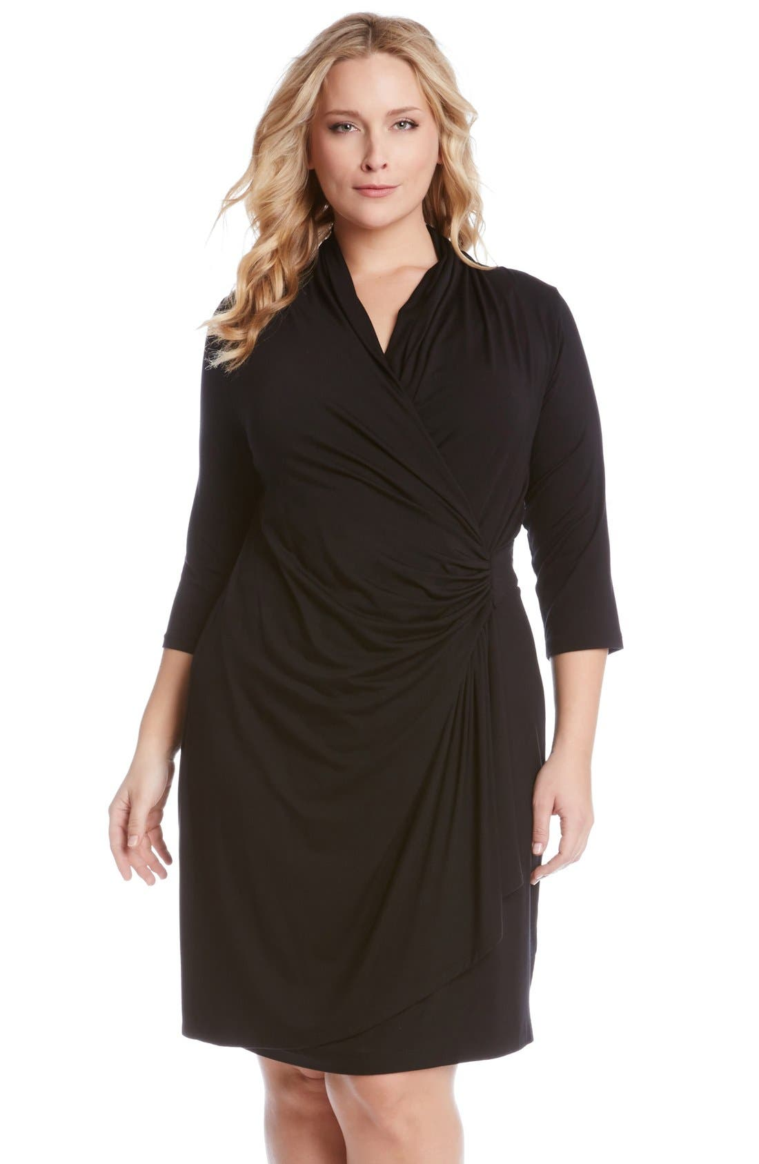 Three Quarter Sleeve Jersey Cascade Faux Wrap Dress,                         Main,                         color, BLACK
