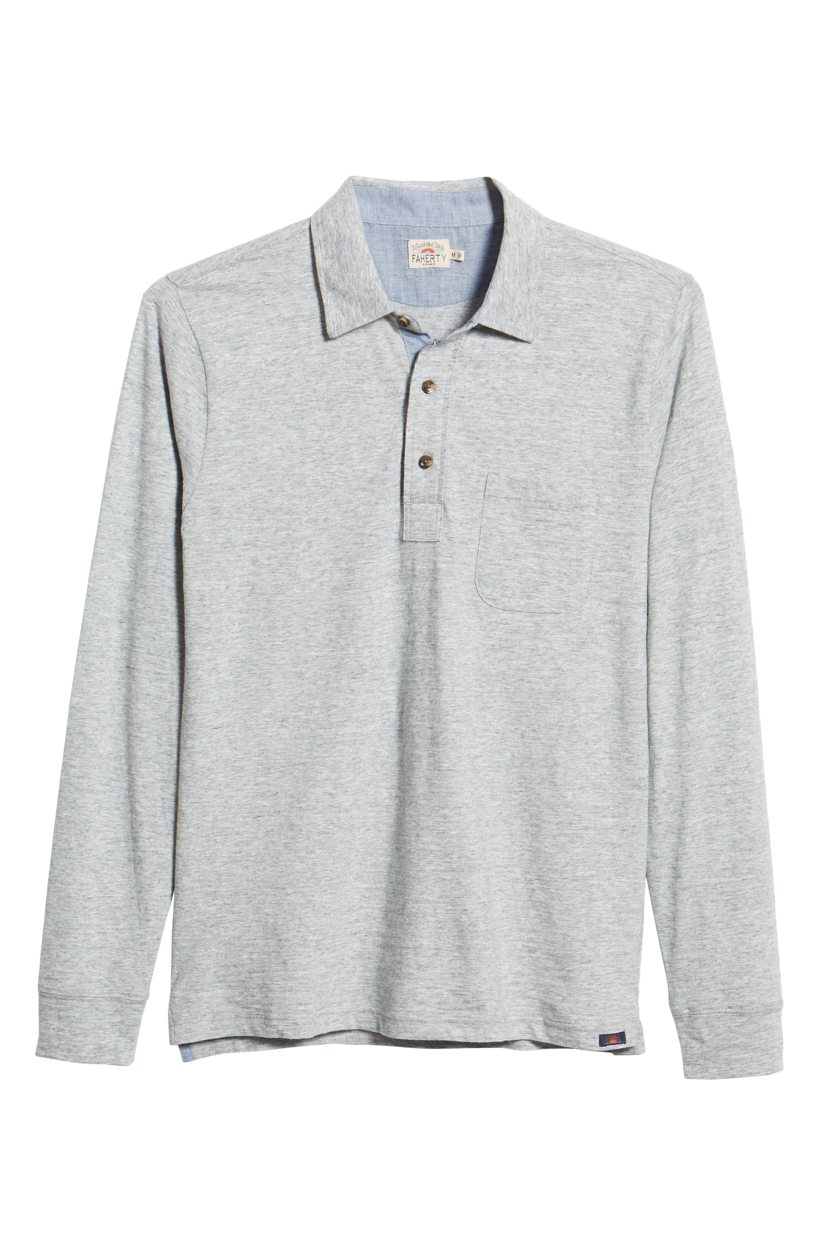 Luxe Heather Long Sleeve Polo,                             Alternate thumbnail 6, color,                             ATHLETIC GREY