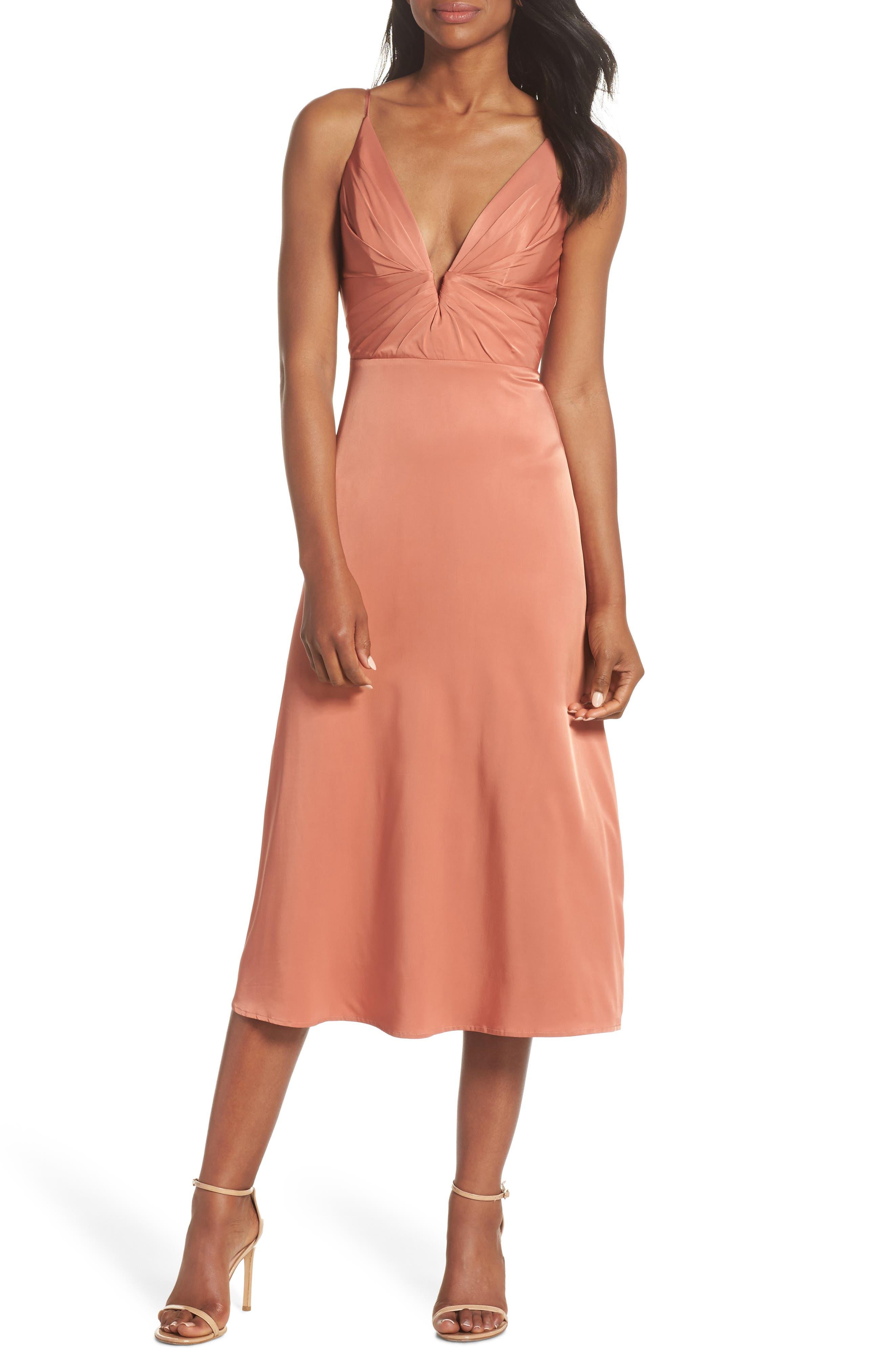 Lea Plunge Neck Midi Dress,                             Main thumbnail 1, color,                             TERRACOTTA