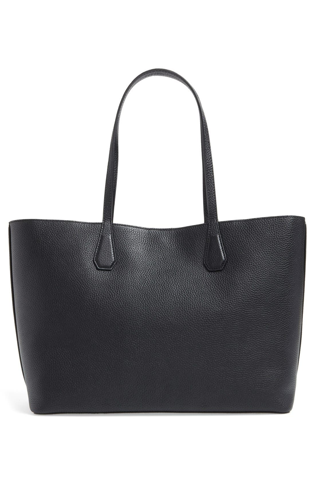 'Perry' Leather Tote,                             Alternate thumbnail 4, color,                             002