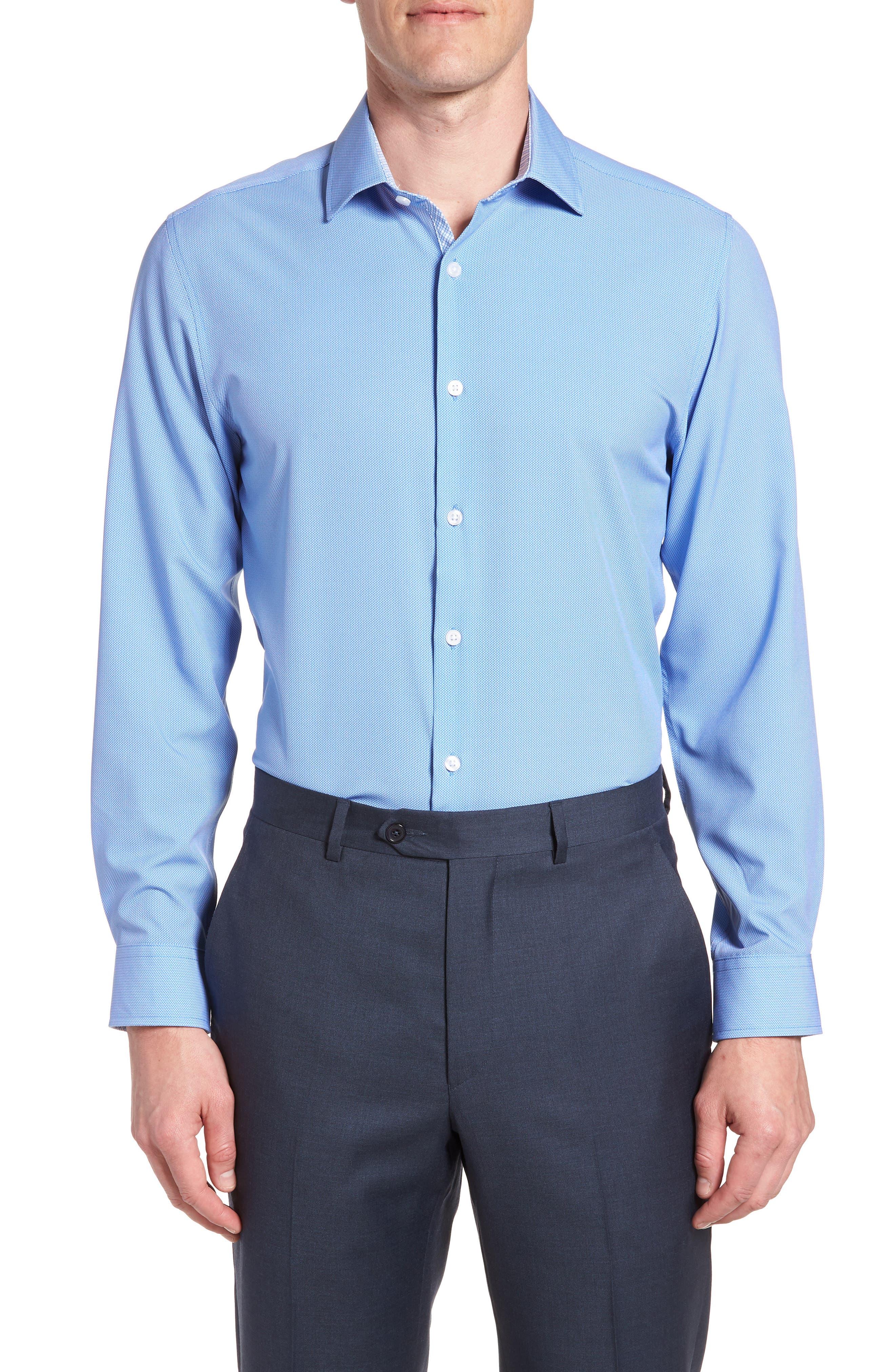 Trim Fit 4-Way Stretch Dress Shirt,                         Main,                         color, NAVY