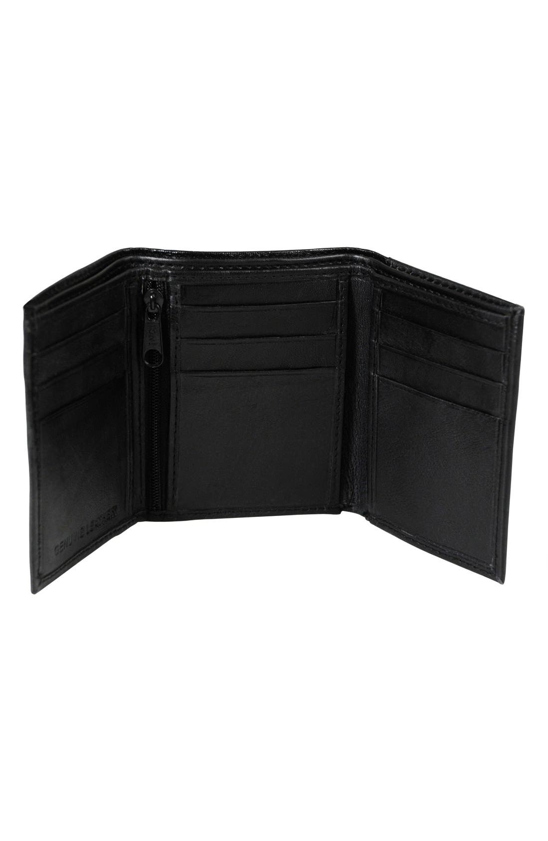 'Oxford' Monogram Leather Trifold Wallet,                             Alternate thumbnail 2, color,                             005