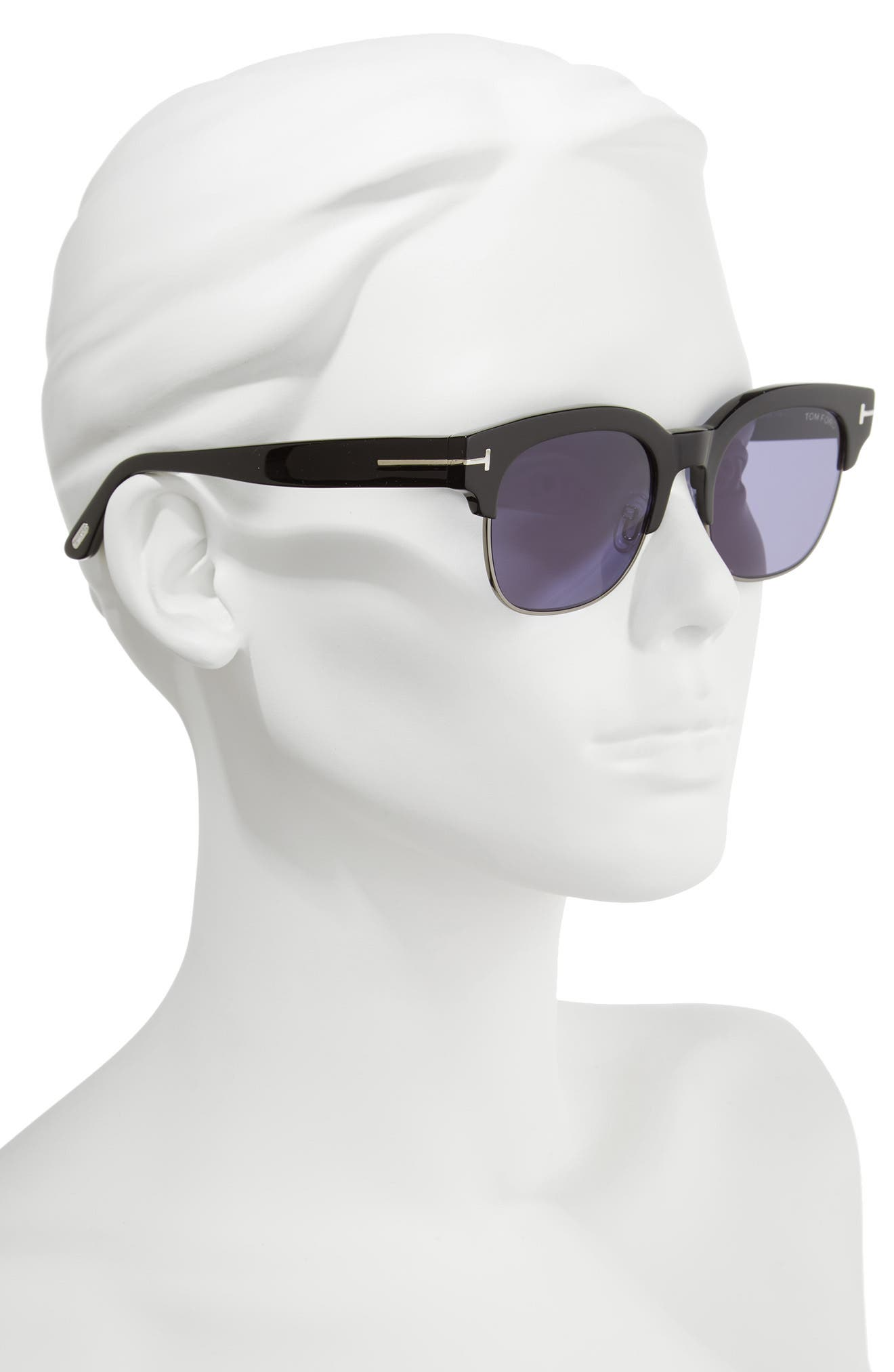 Harry 53mm Half-Rim Sunglasses,                             Alternate thumbnail 2, color,                             BLACK/ DARK RUTHENIUM/ BLUE