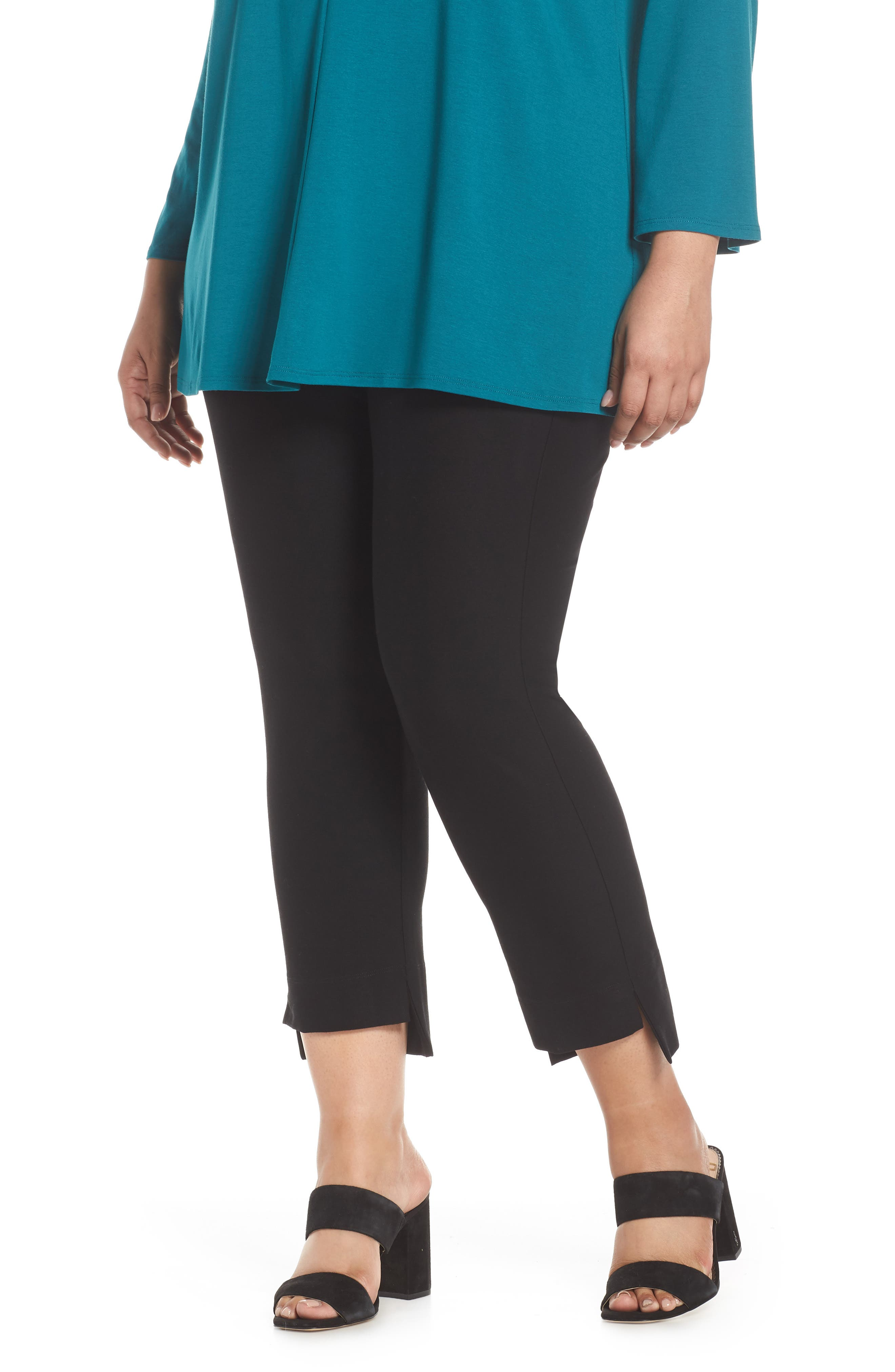 Slim Fit Crop Pants, Main, color, BLACK