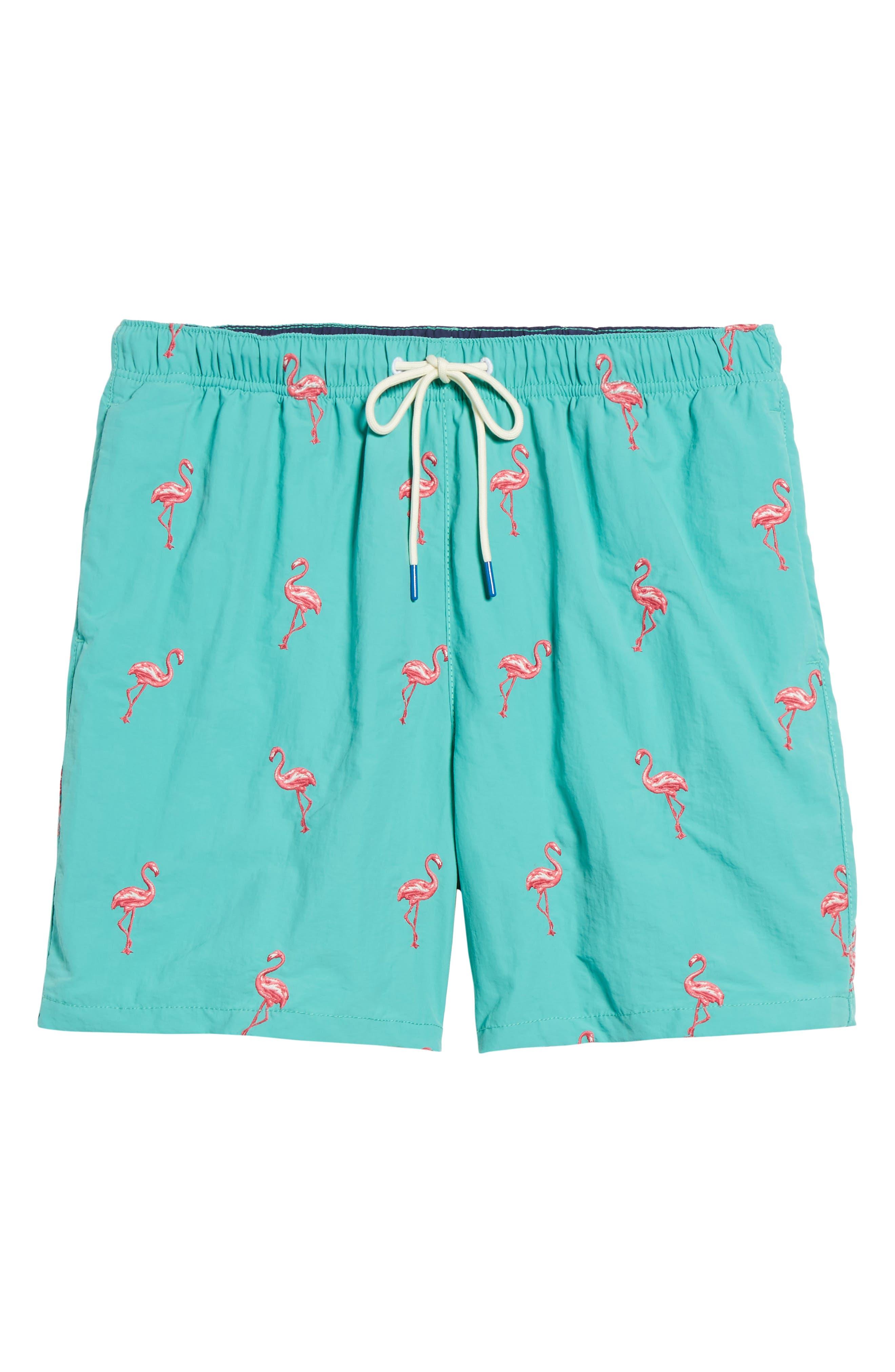 Naples Flamingo Coast Swim Trunks,                             Alternate thumbnail 6, color,                             CASTAWAY GREEN
