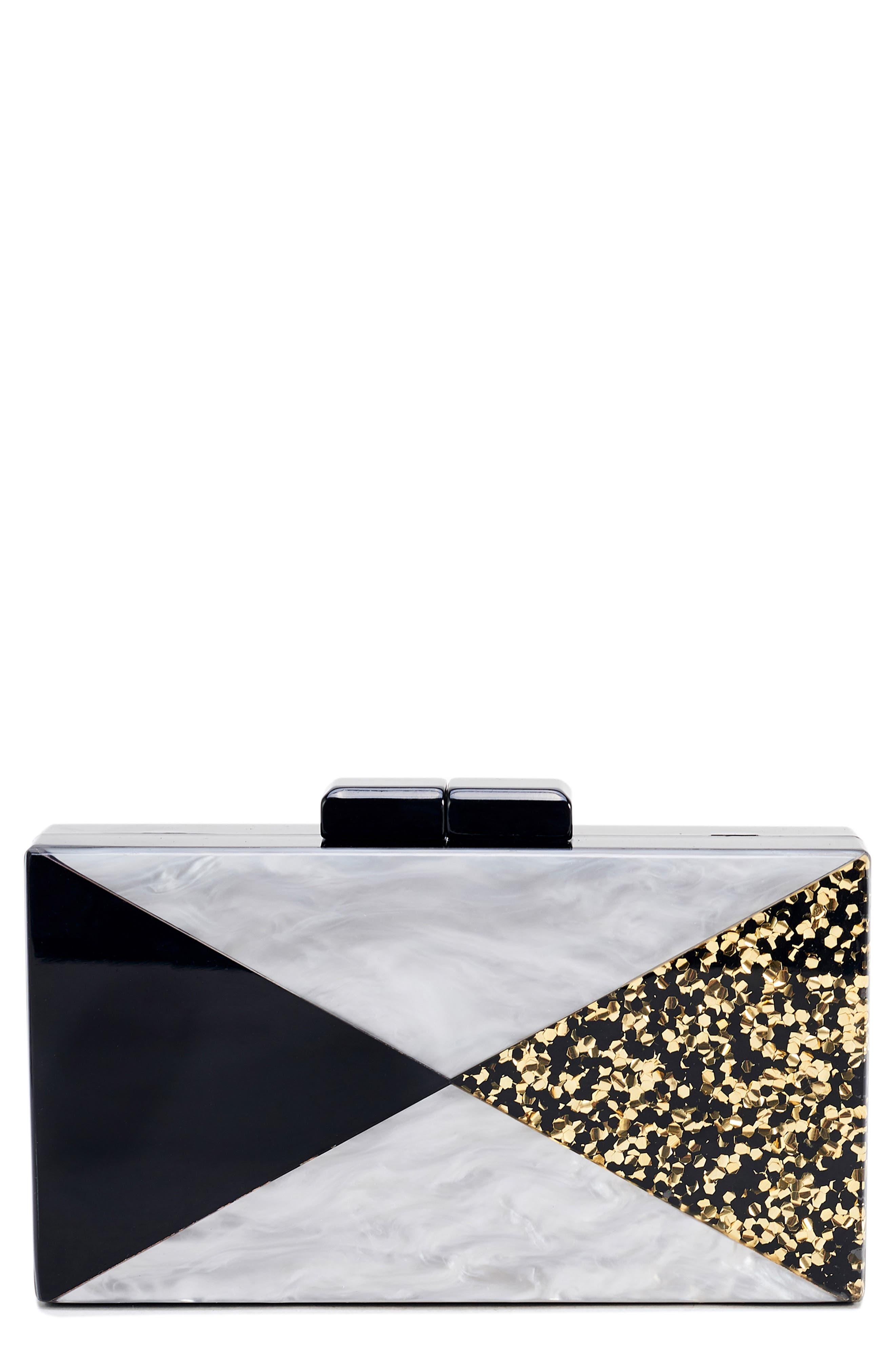 Glitter & Faux Marble Box Clutch,                             Main thumbnail 1, color,                             BLACK/ SILVER