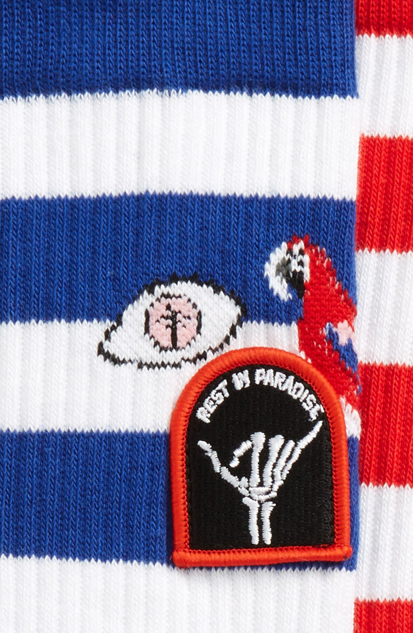 Staycation Stripe Socks,                             Alternate thumbnail 3, color,                             BLUE