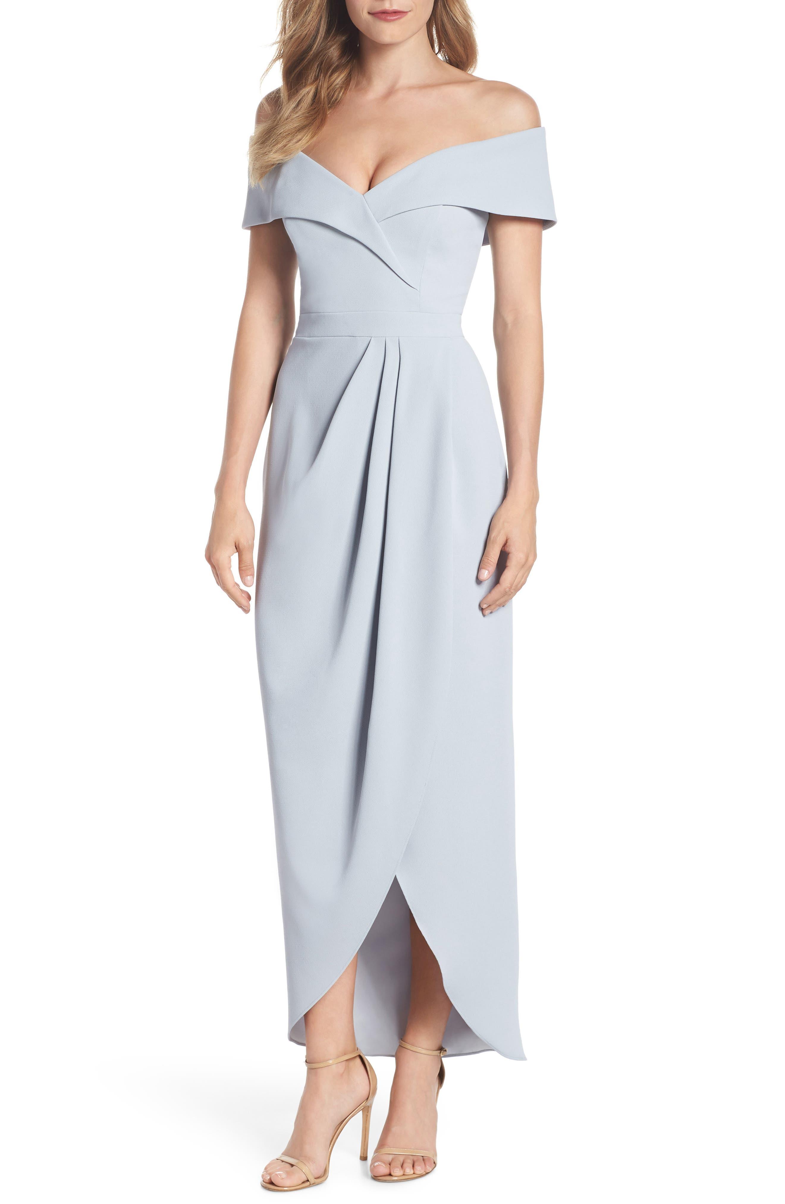 Off the Shoulder Tulip Gown,                         Main,                         color, SOFT BLUE