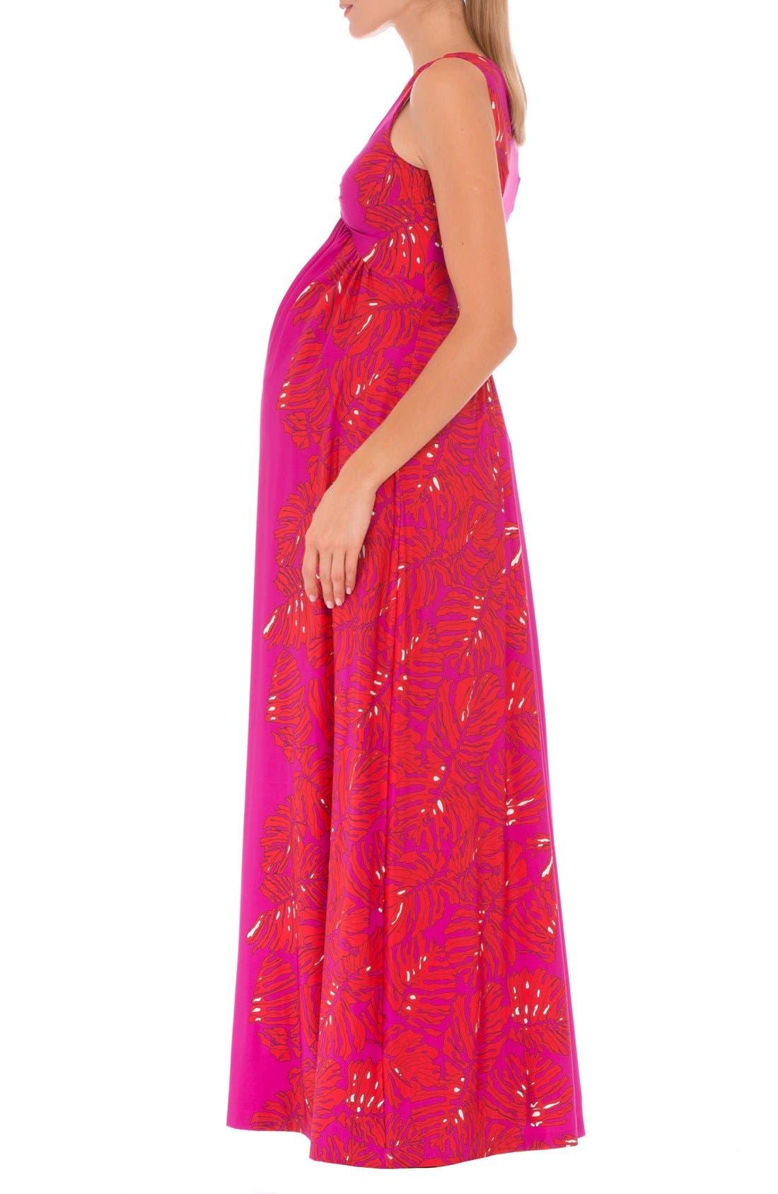 Scarlet Sleeveless Maternity Maxi Dress,                             Alternate thumbnail 4, color,                             RED