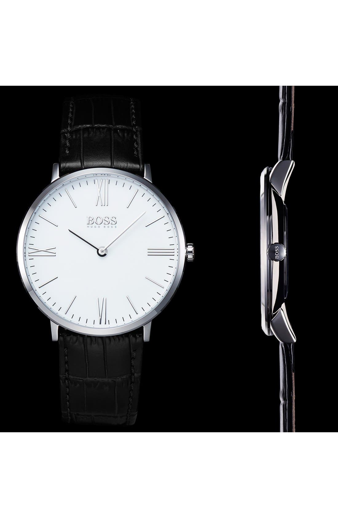 Ultra Slim Leather Strap Watch, 40mm,                             Alternate thumbnail 4, color,                             001