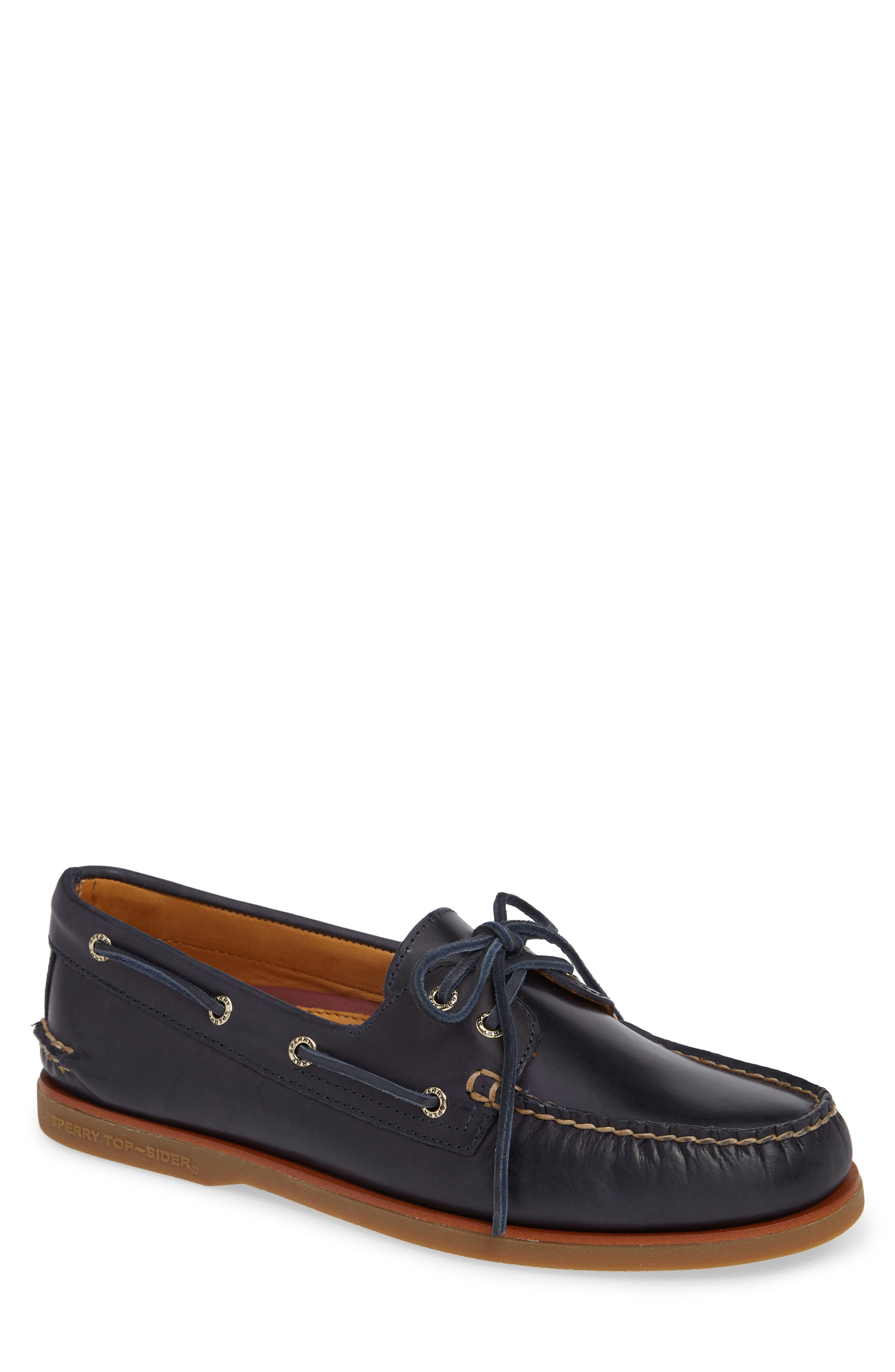 Gold Cup Boat Shoe,                         Main,                         color, NAVY/ GUM