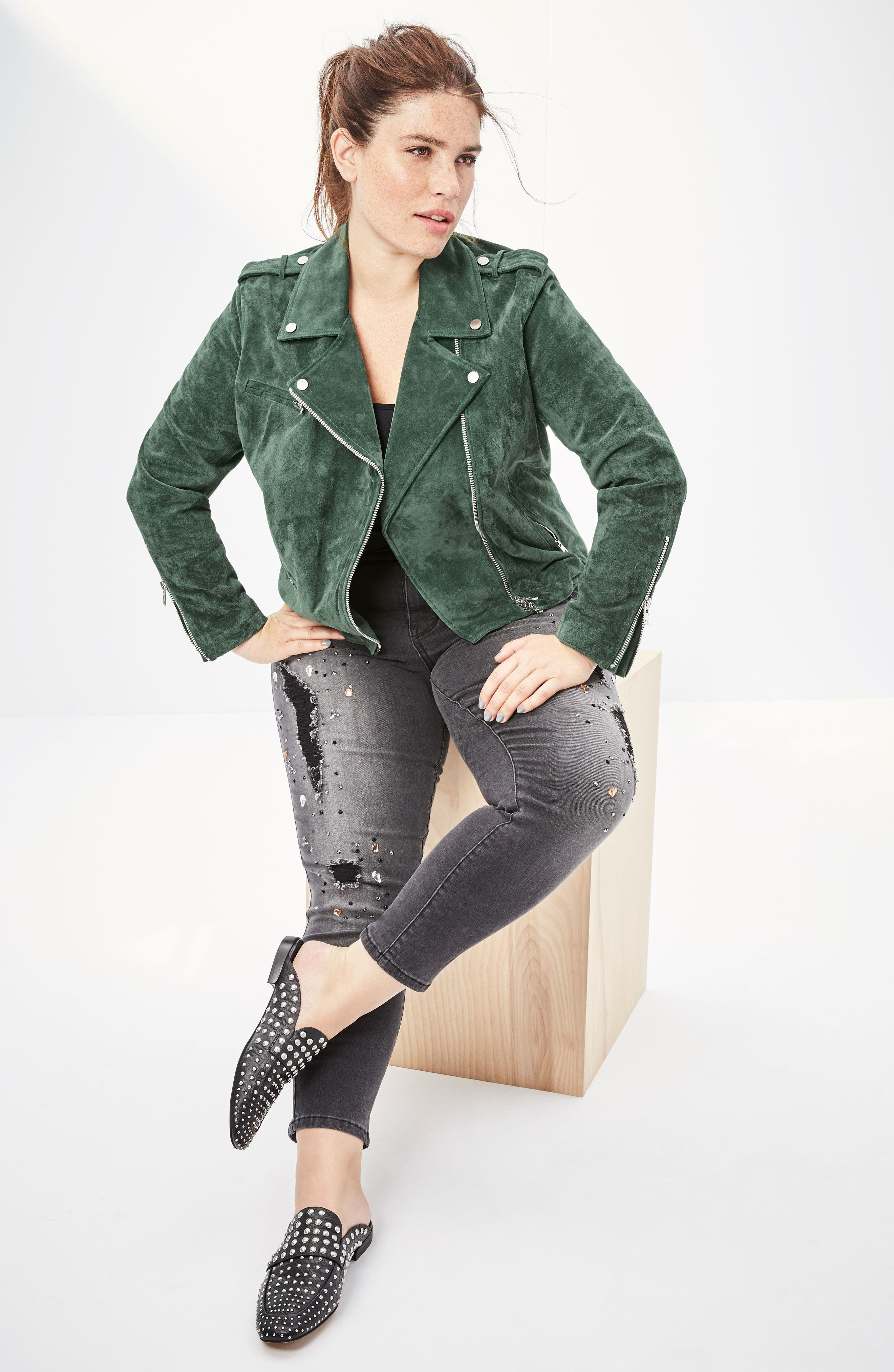 Suede Moto Jacket,                             Alternate thumbnail 16, color,