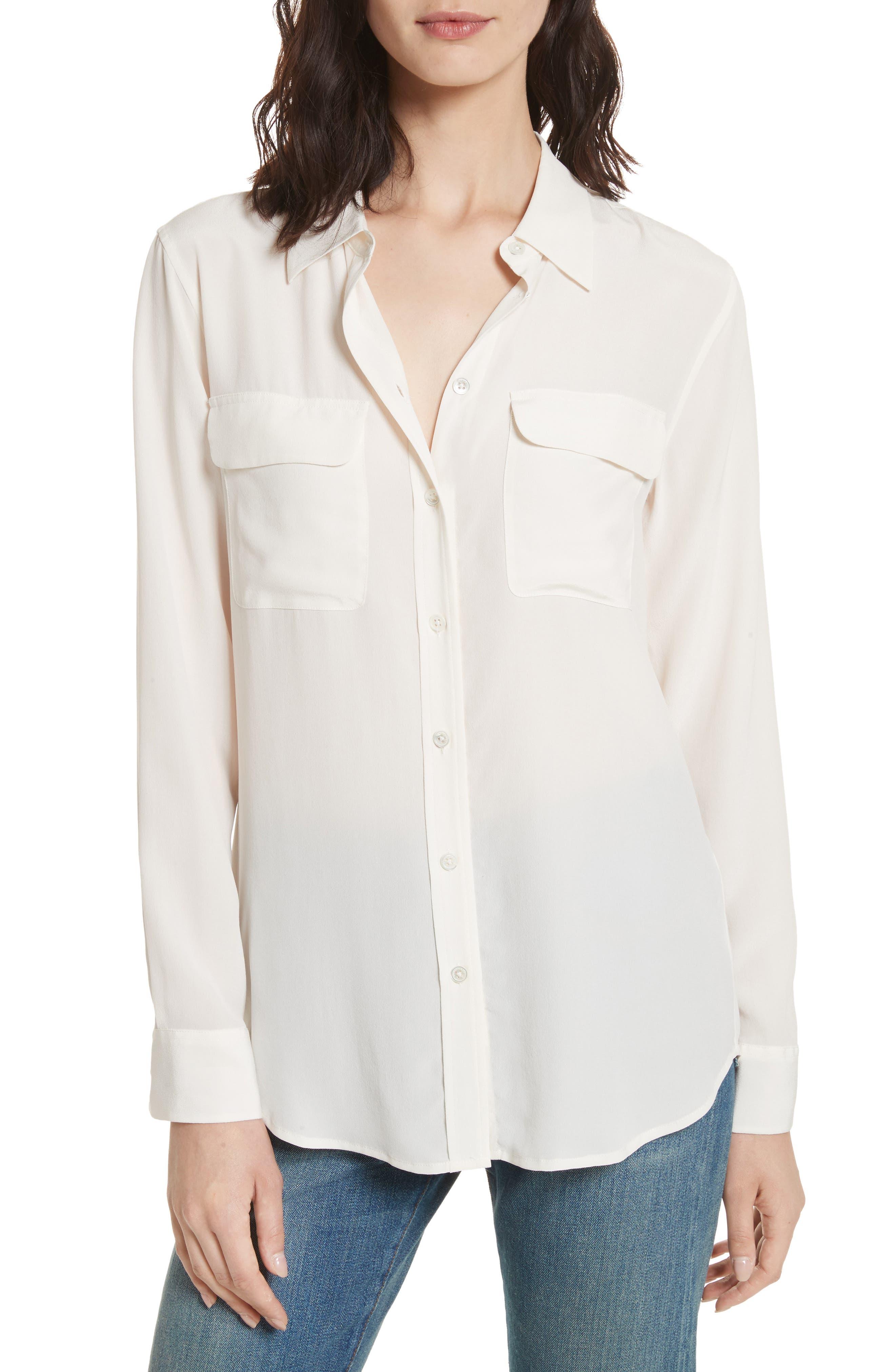 EQUIPMENT,                             'Slim Signature' Silk Shirt,                             Main thumbnail 1, color,                             BRIGHT WHITE