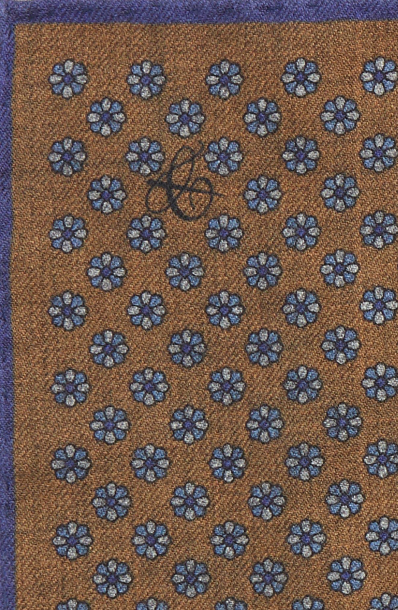 Medallion Wool Pocket Square,                             Alternate thumbnail 3, color,                             BROWN