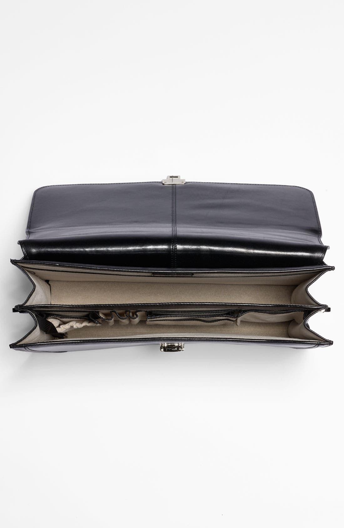 Double Gusset Briefcase,                             Alternate thumbnail 4, color,                             BLACK