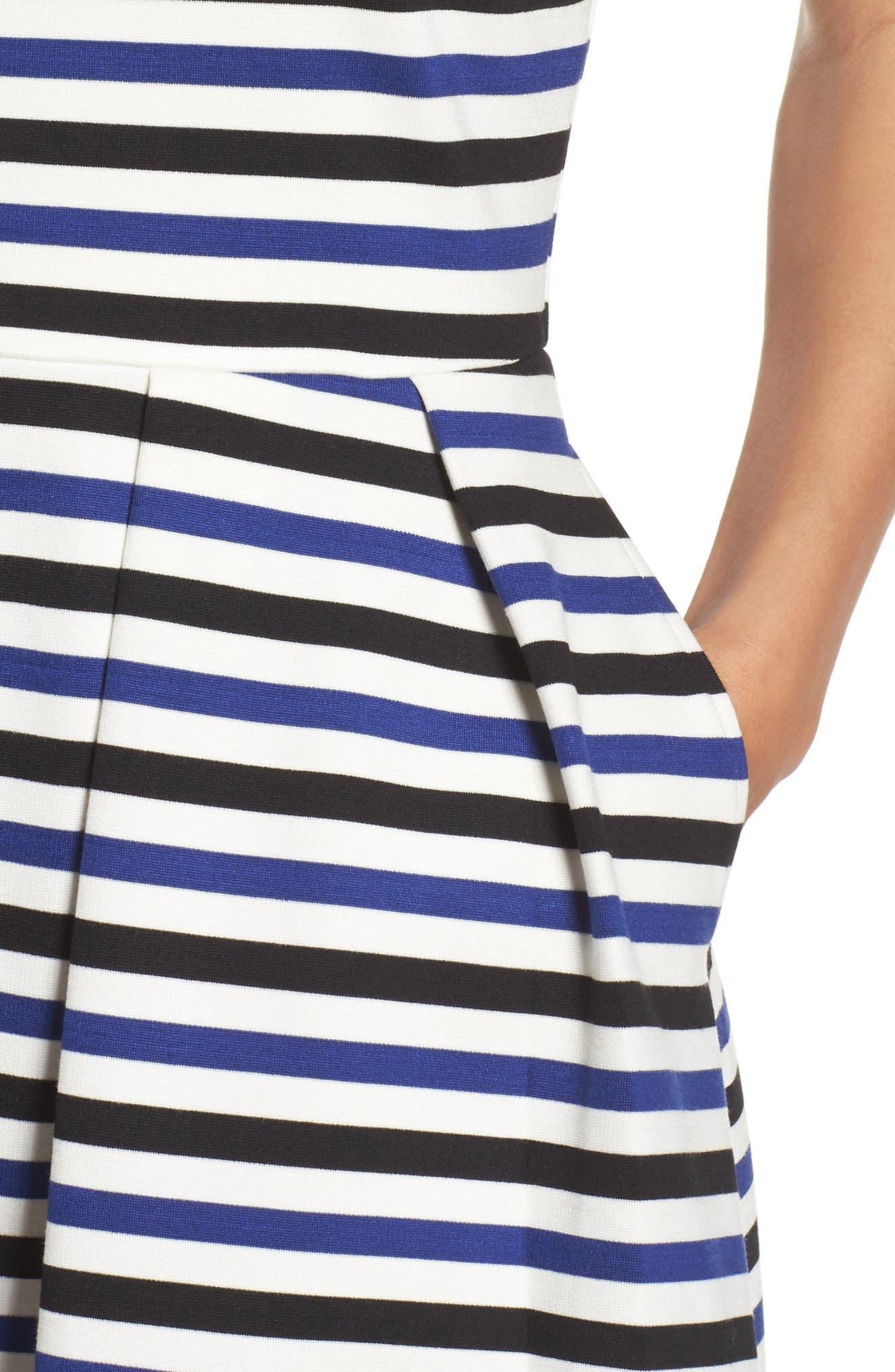 Ming Stripe Fit & Flare Dress,                             Alternate thumbnail 4, color,                             100