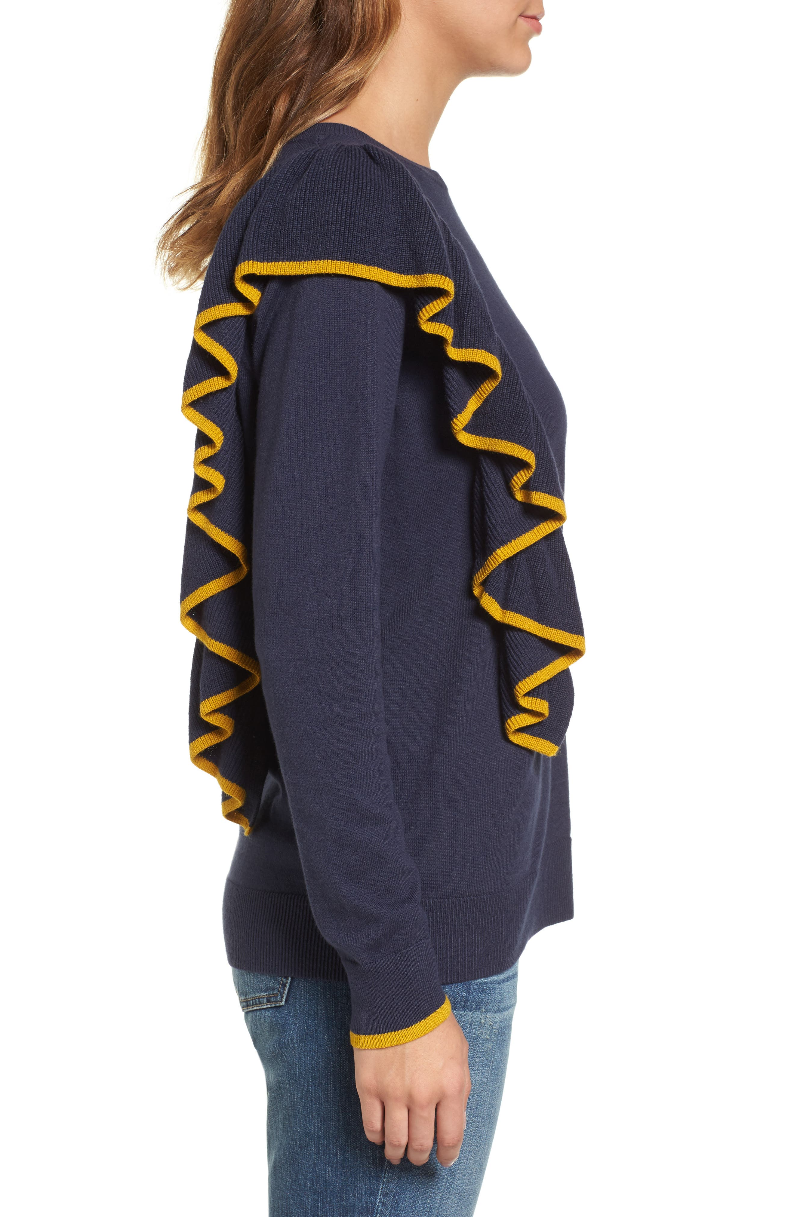Asymmetrical Ruffle Sweater,                             Alternate thumbnail 8, color,