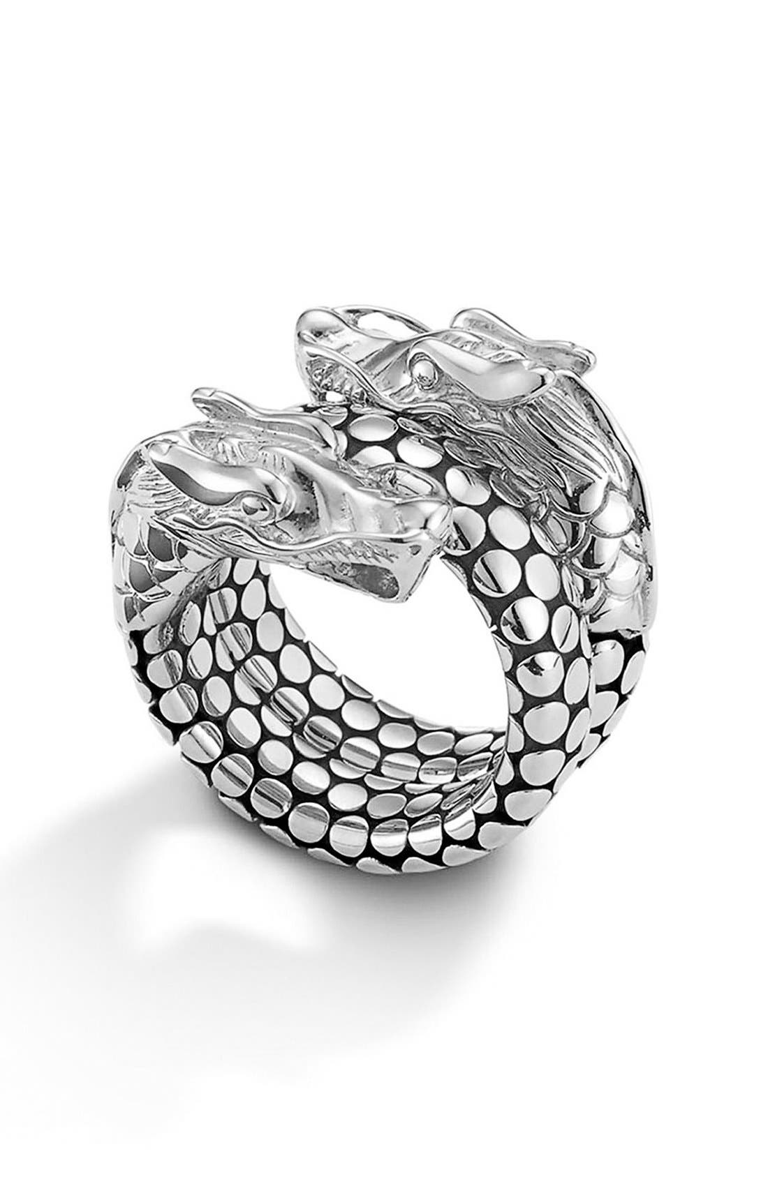 'Legends' Dragon Coil Ring,                             Main thumbnail 1, color,                             STERLING SILVER