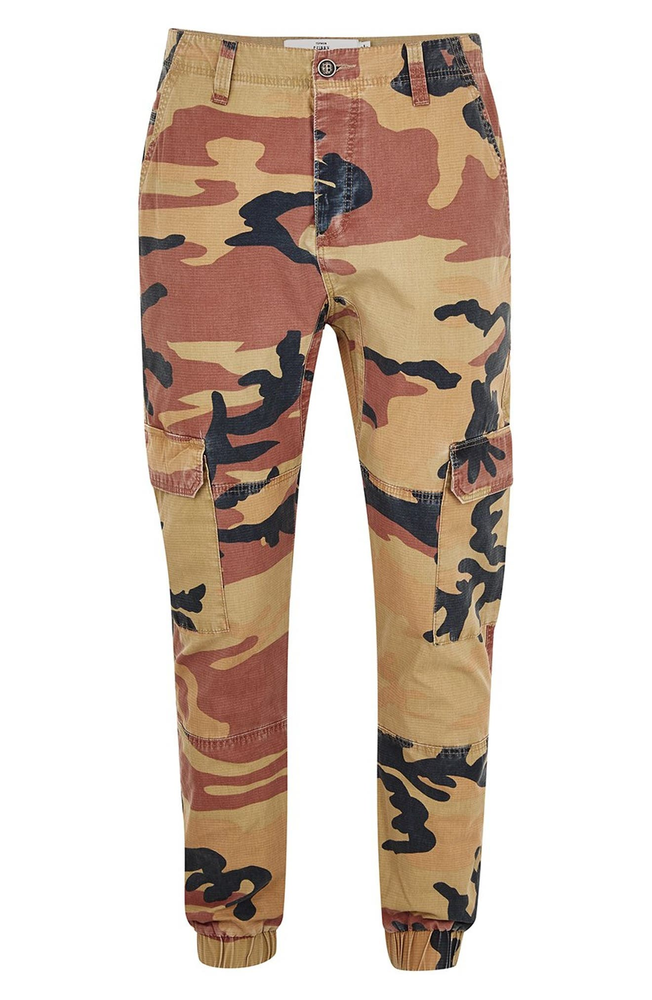 Camouflage Skinny Cargo Trousers,                             Alternate thumbnail 4, color,                             STONE