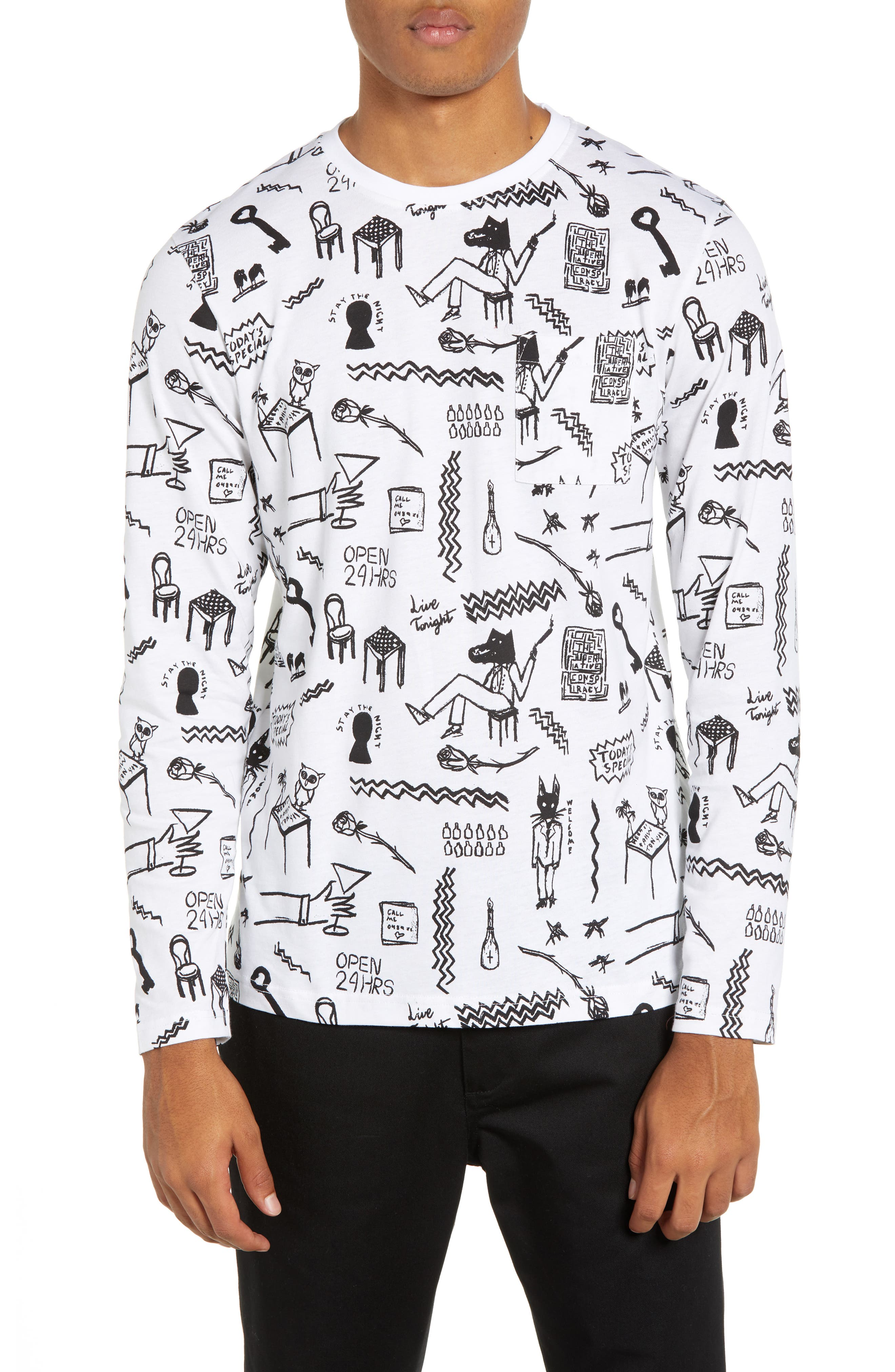 Makai Monsters Graphic Long Sleeve Pocket T-Shirt,                             Main thumbnail 1, color,                             WHITE