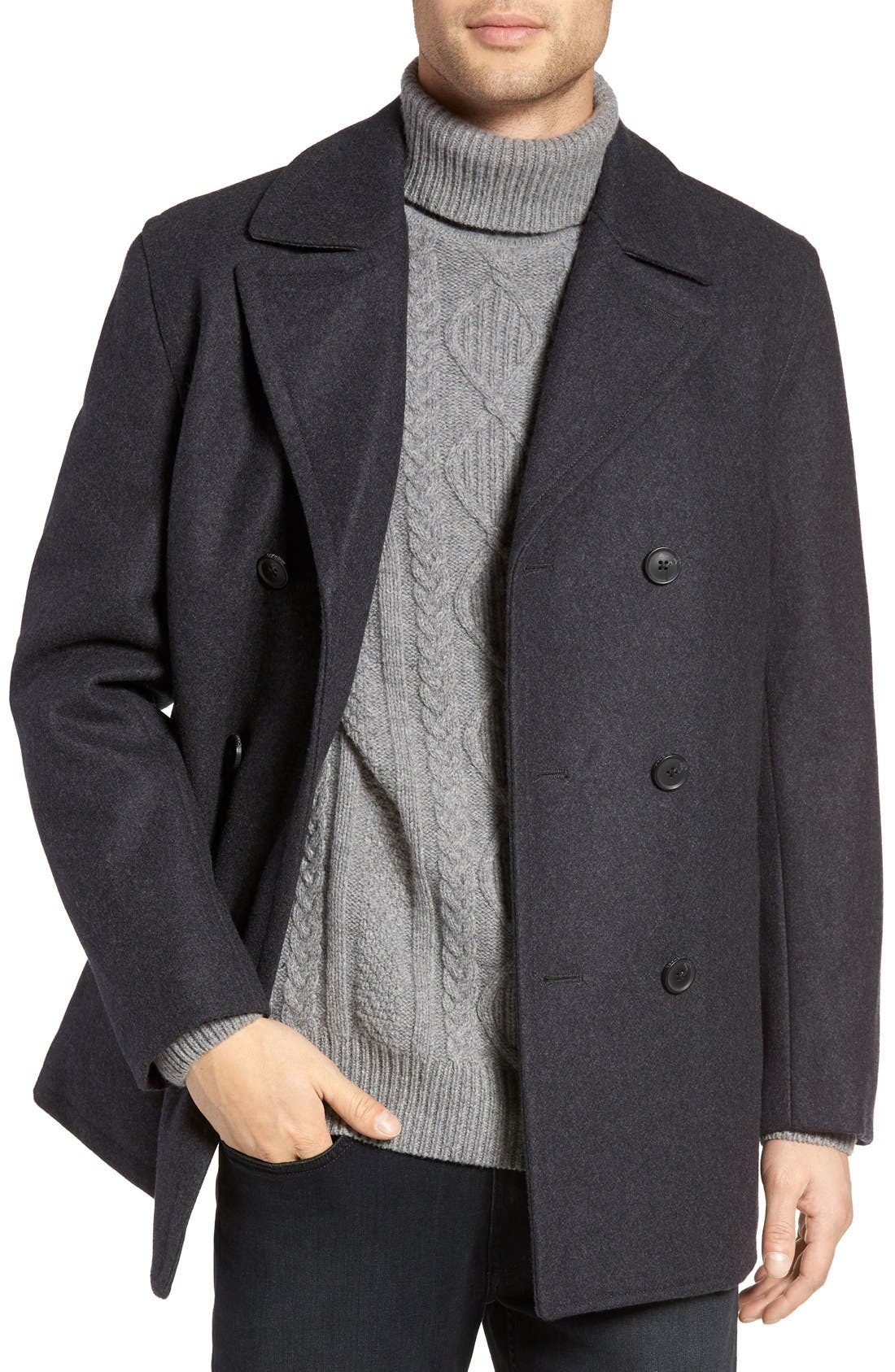 Wool Blend Double Breasted Peacoat,                             Main thumbnail 10, color,