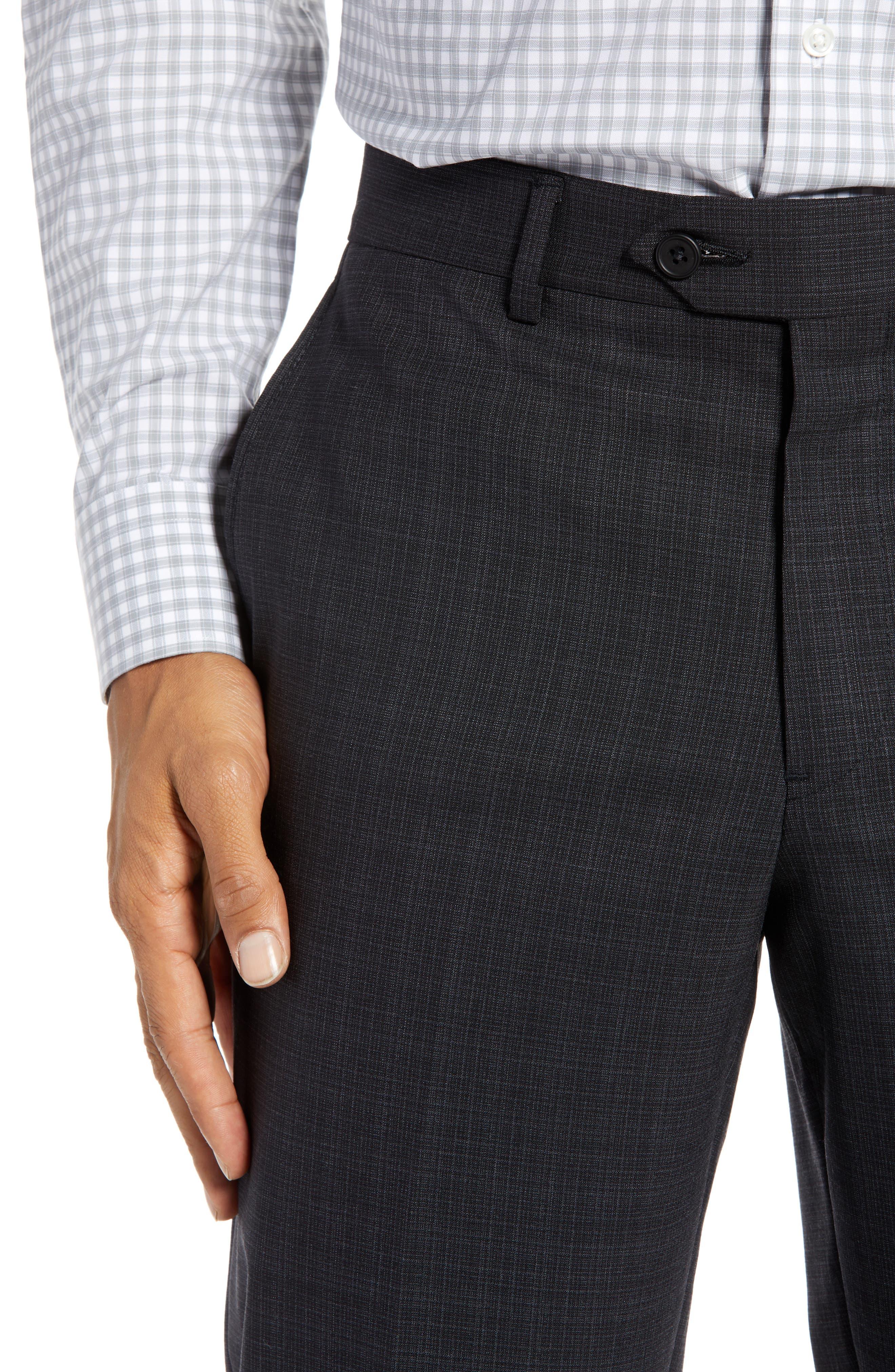 Trim Fit Flat Front Stretch Wool Pants,                             Alternate thumbnail 4, color,                             BLACK