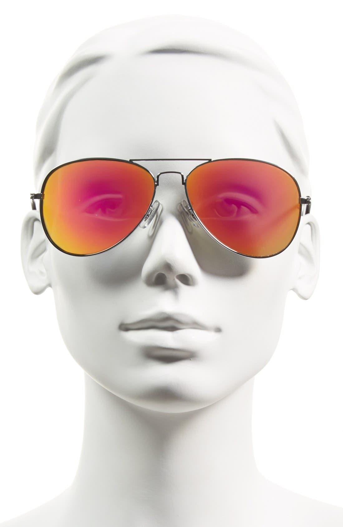 55mm Mirrored Aviator Sunglasses,                             Alternate thumbnail 2, color,                             040