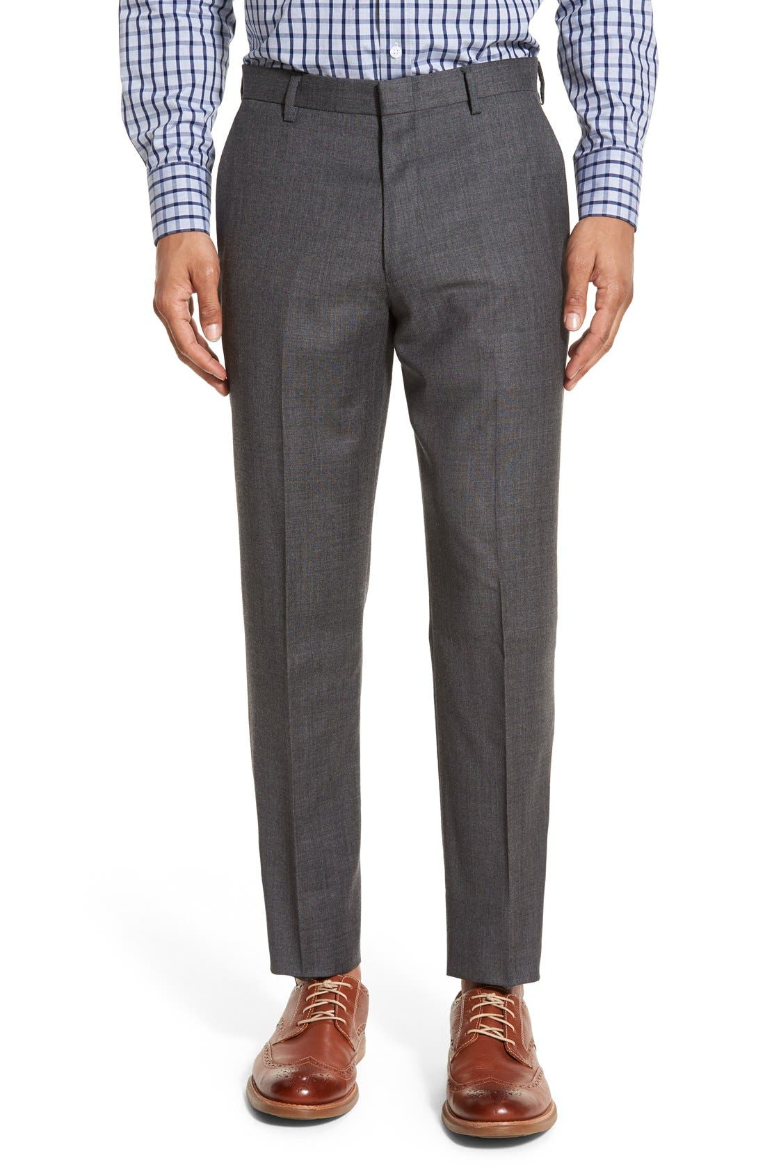 Ludlow Flat Front Solid Wool Trousers,                         Main,                         color,