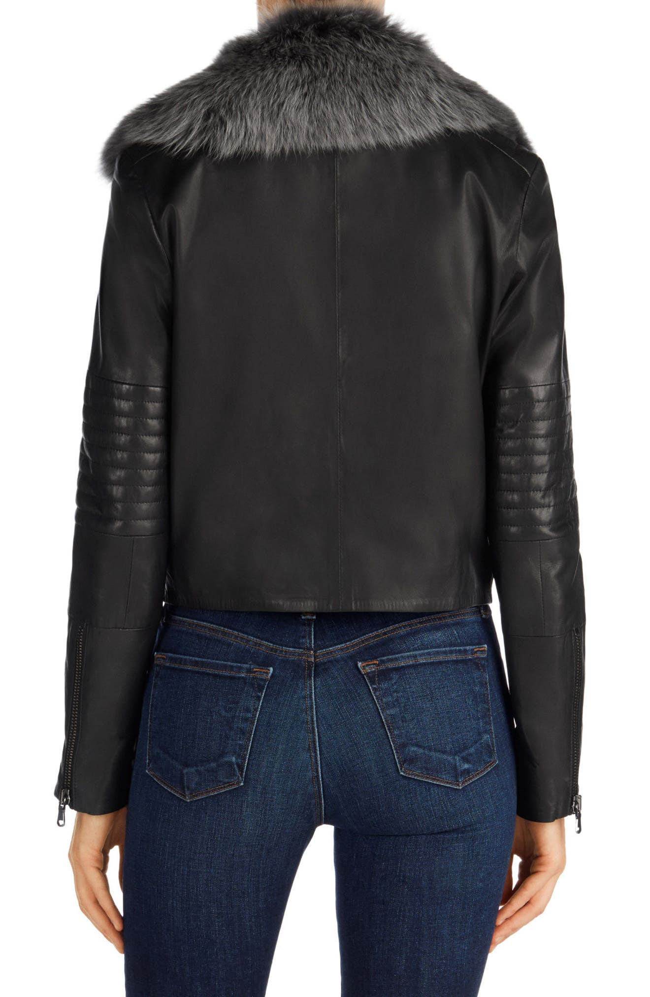 Aiah Leather Moto Jacket with Detachable Lamb Shearling Collar,                             Alternate thumbnail 2, color,                             001