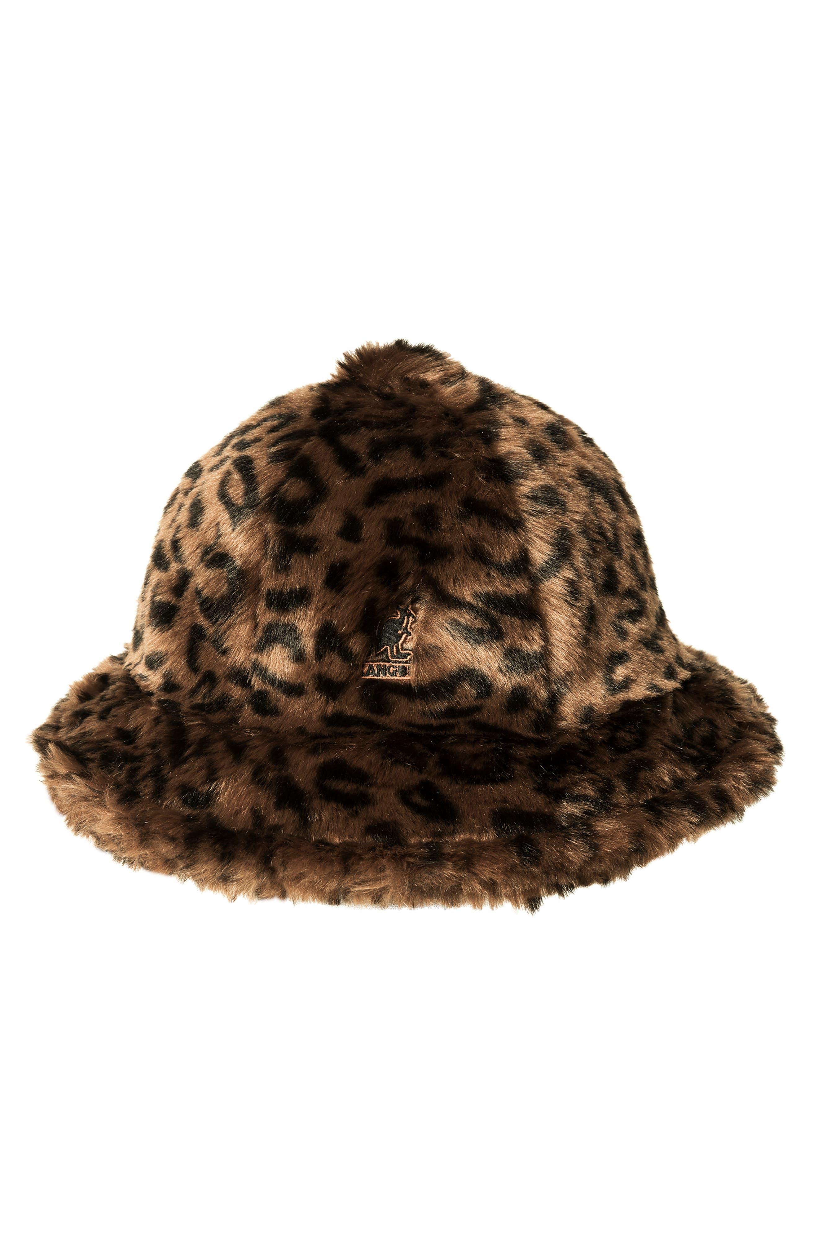 KANGOL Faux Fur Casual Bucket Hat - Brown in Leopard