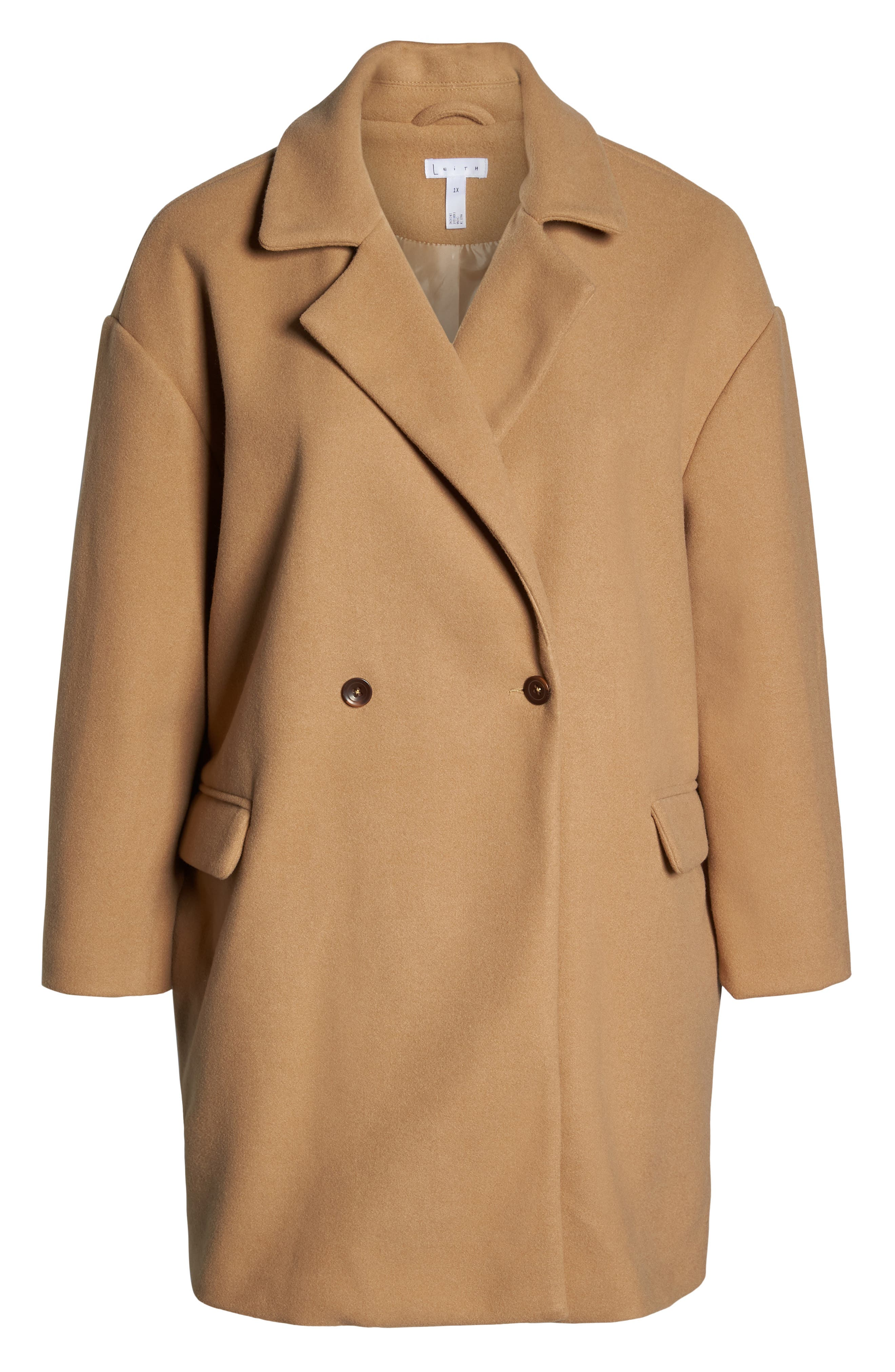 Oversize Double Breasted Coat,                             Alternate thumbnail 6, color,                             TAN