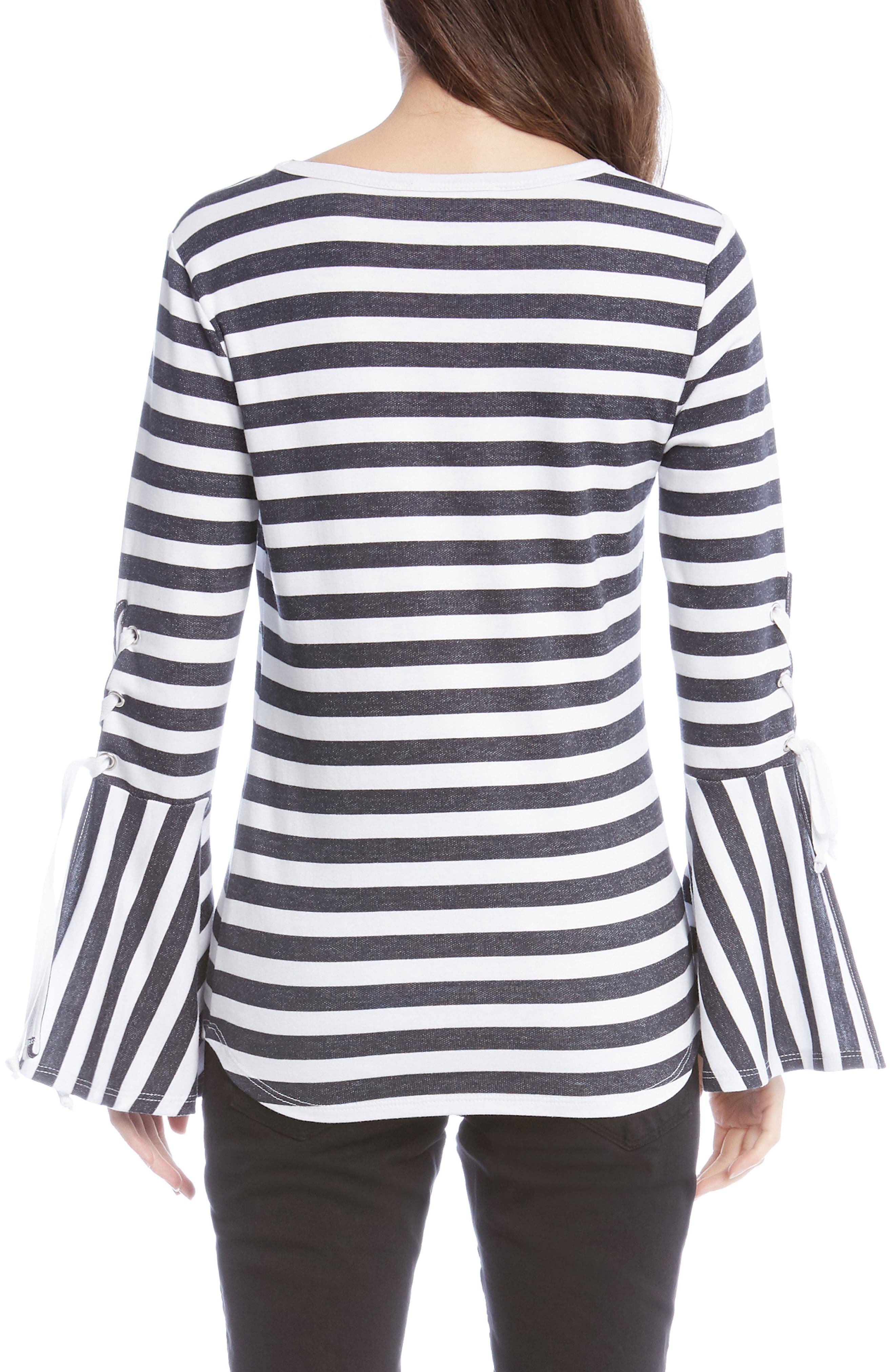 Stripe Lace-Up Sleeve Top,                             Alternate thumbnail 2, color,                             001